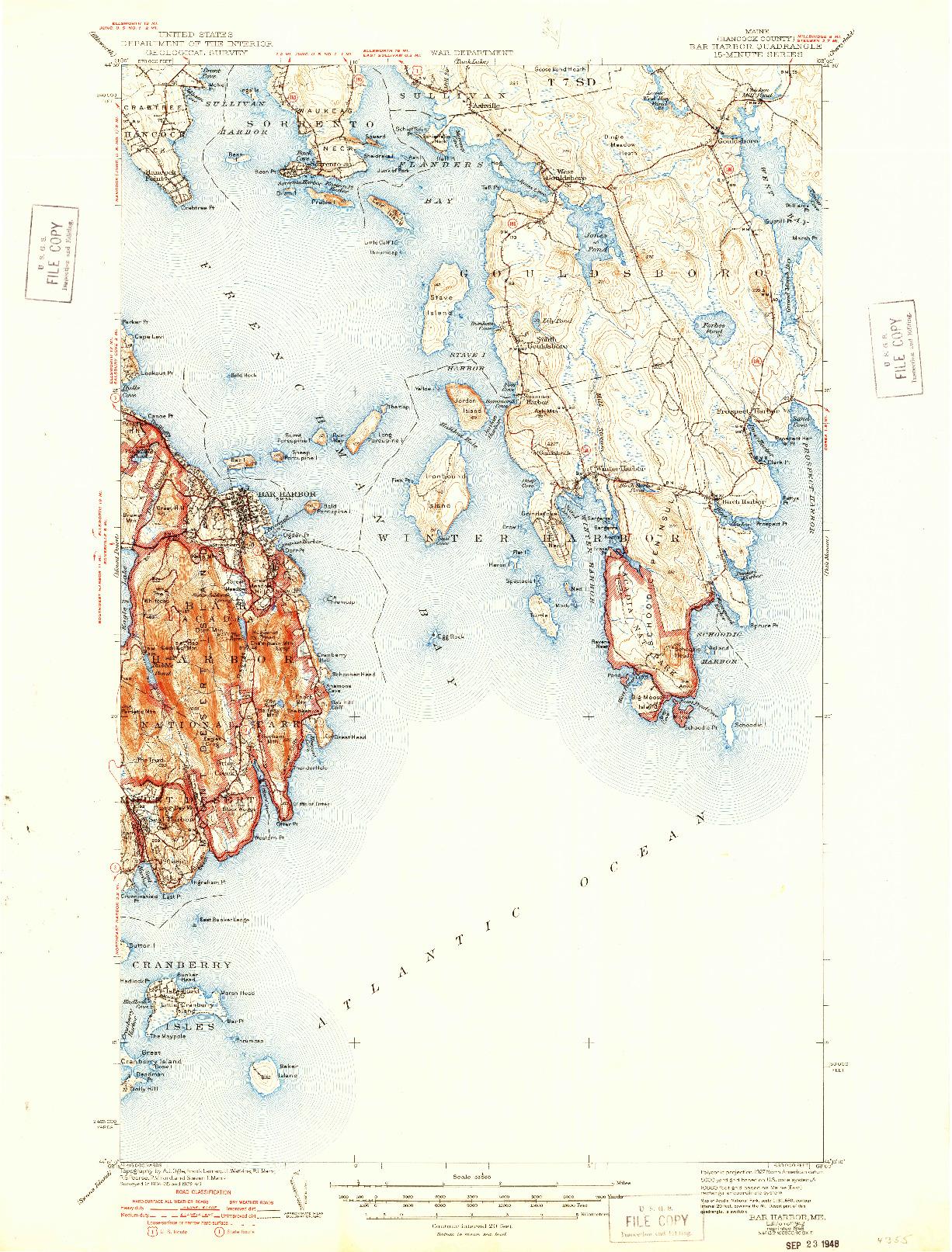 USGS 1:62500-SCALE QUADRANGLE FOR BAR HARBOR, ME 1942
