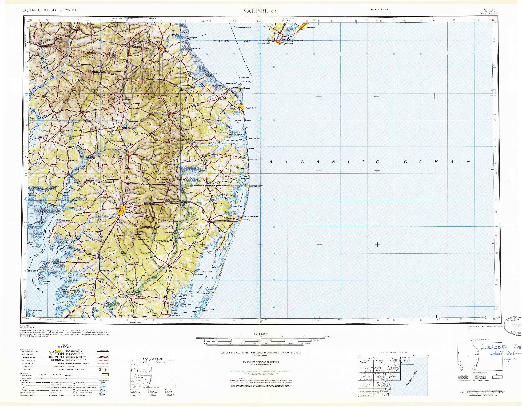 USGS 1:250000-SCALE QUADRANGLE FOR SALISBURY, MD 1947