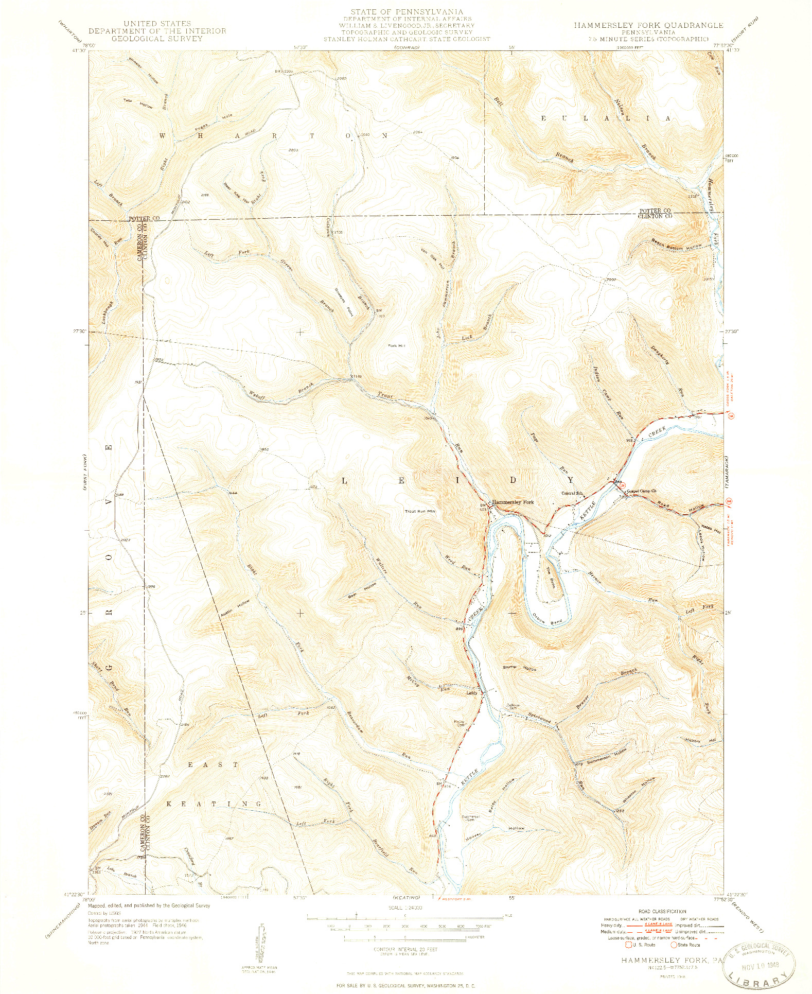 USGS 1:24000-SCALE QUADRANGLE FOR HAMMERSLEY FORK, PA 1948