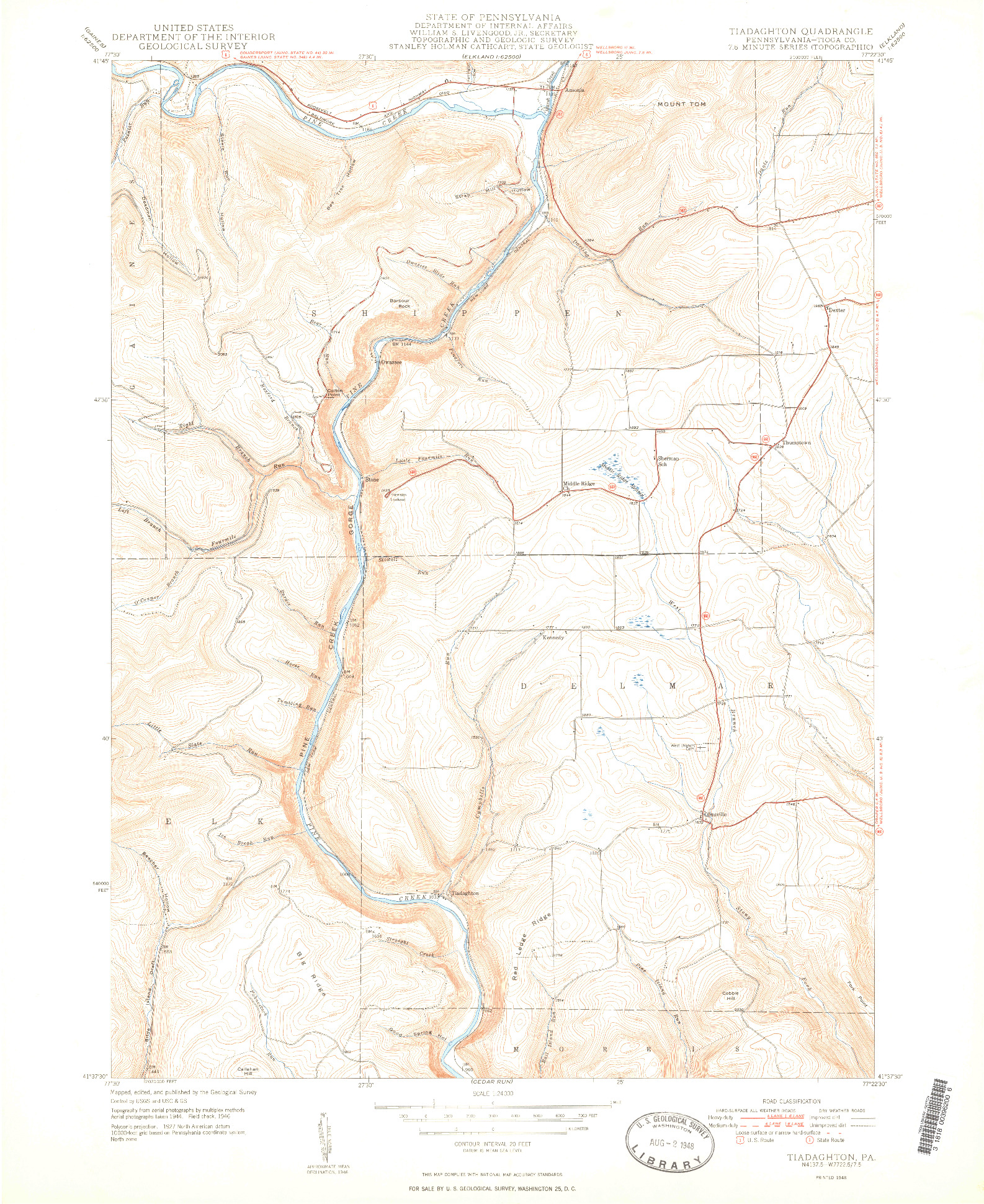 USGS 1:24000-SCALE QUADRANGLE FOR TIADAGHTON, PA 1948