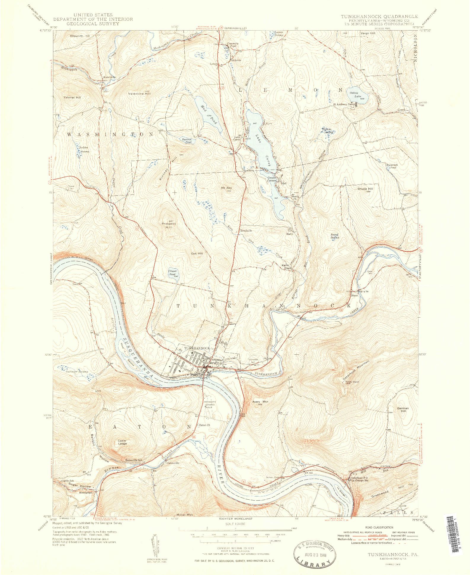 USGS 1:24000-SCALE QUADRANGLE FOR TUNKHANNOCK, PA 1948