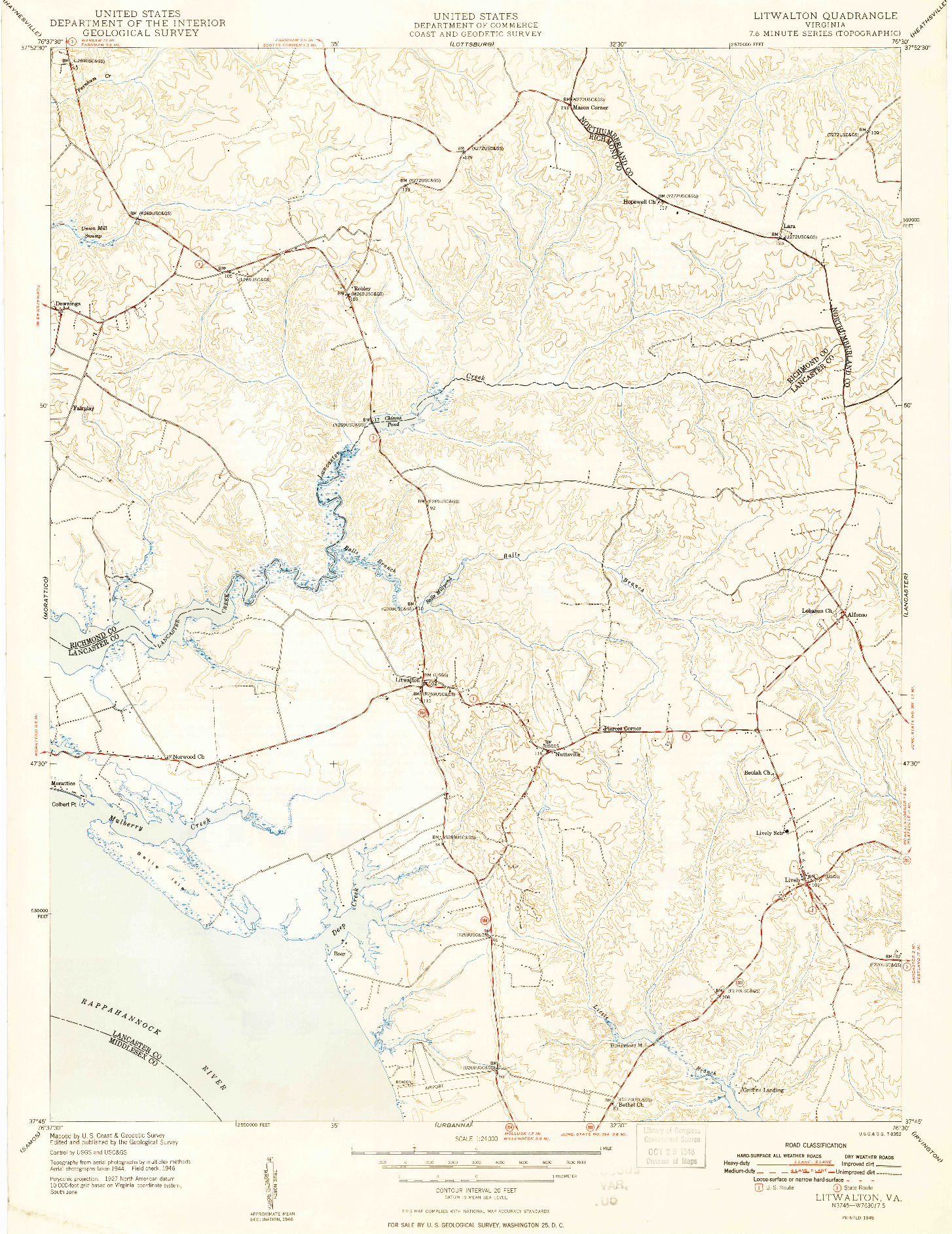 USGS 1:24000-SCALE QUADRANGLE FOR LITWALTON, VA 1948