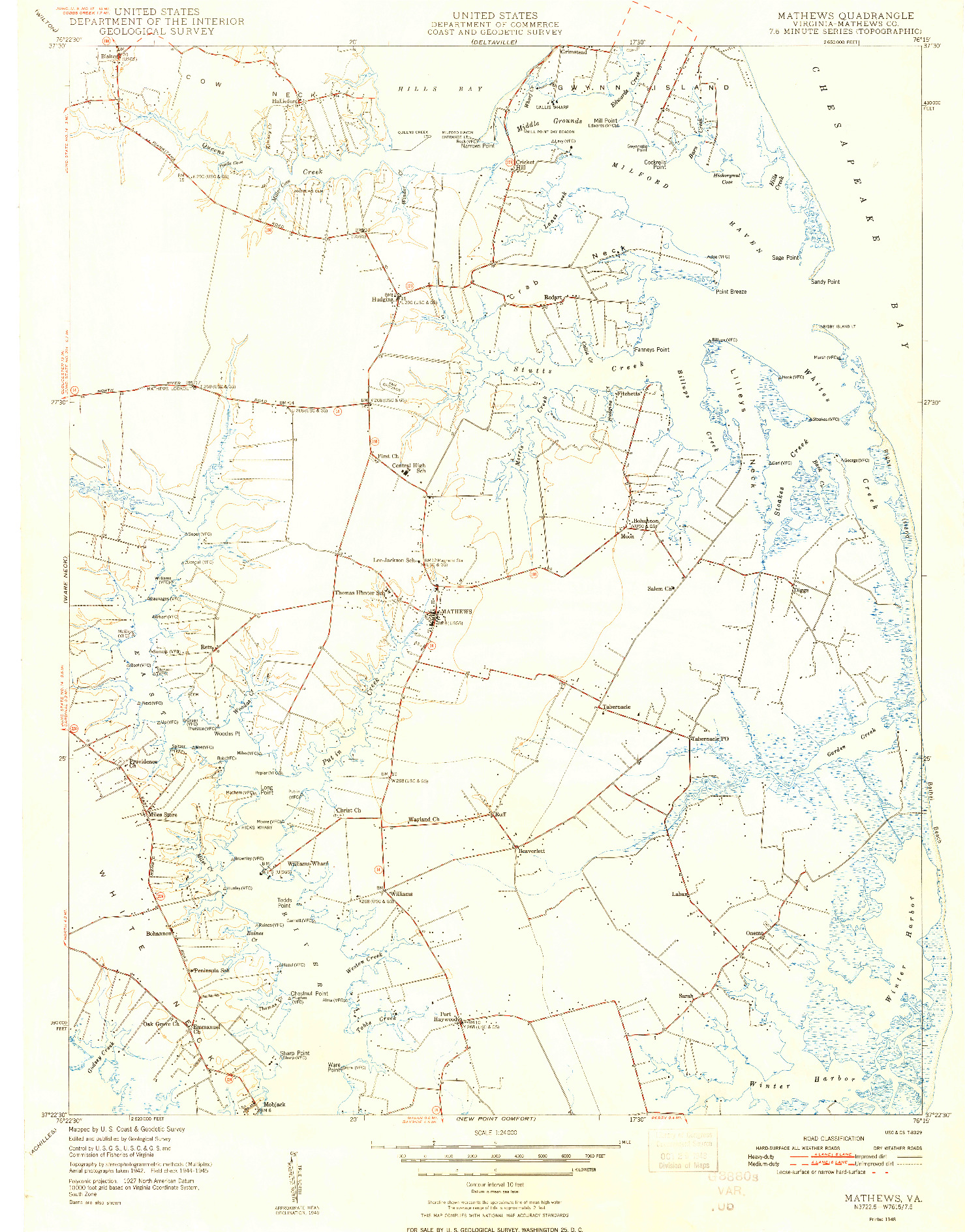 USGS 1:24000-SCALE QUADRANGLE FOR MATHEWS, VA 1948