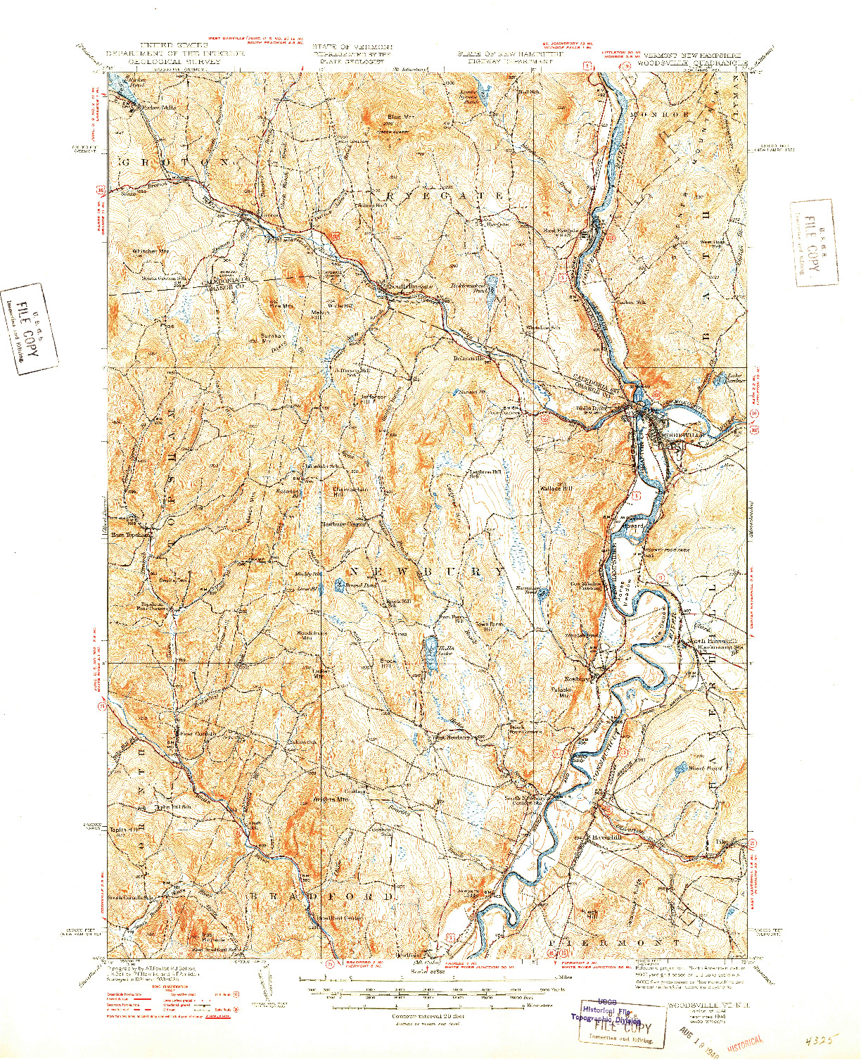 USGS 1:62500-SCALE QUADRANGLE FOR WOODSVILLE, VT 1941