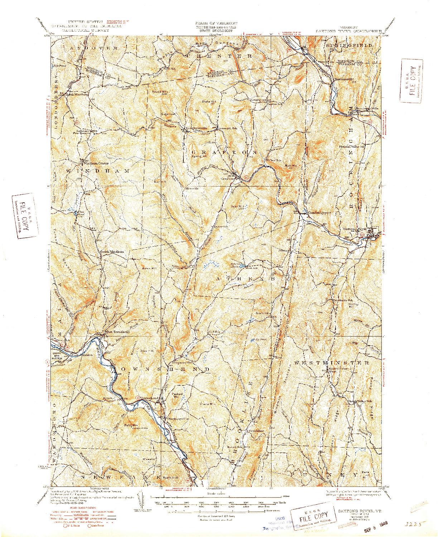 USGS 1:62500-SCALE QUADRANGLE FOR SAXTONS RIVER, VT 1933
