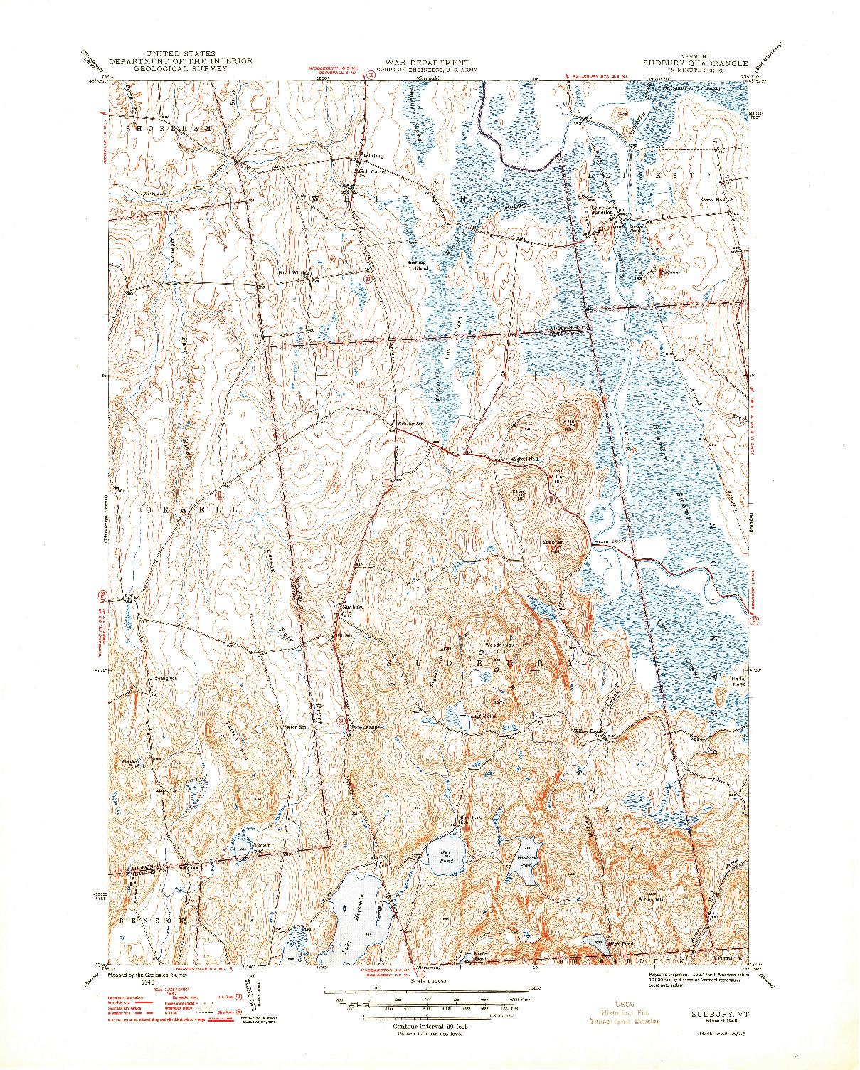USGS 1:31680-SCALE QUADRANGLE FOR SUDBURY, VT 1948