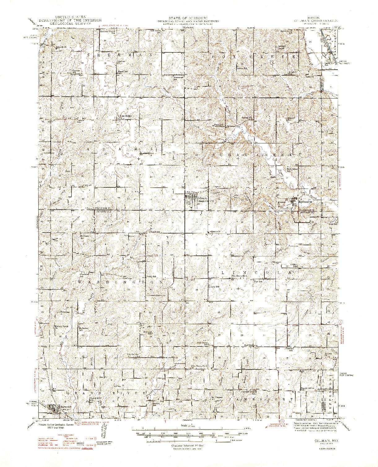 USGS 1:62500-SCALE QUADRANGLE FOR GILMAN, MO 1948