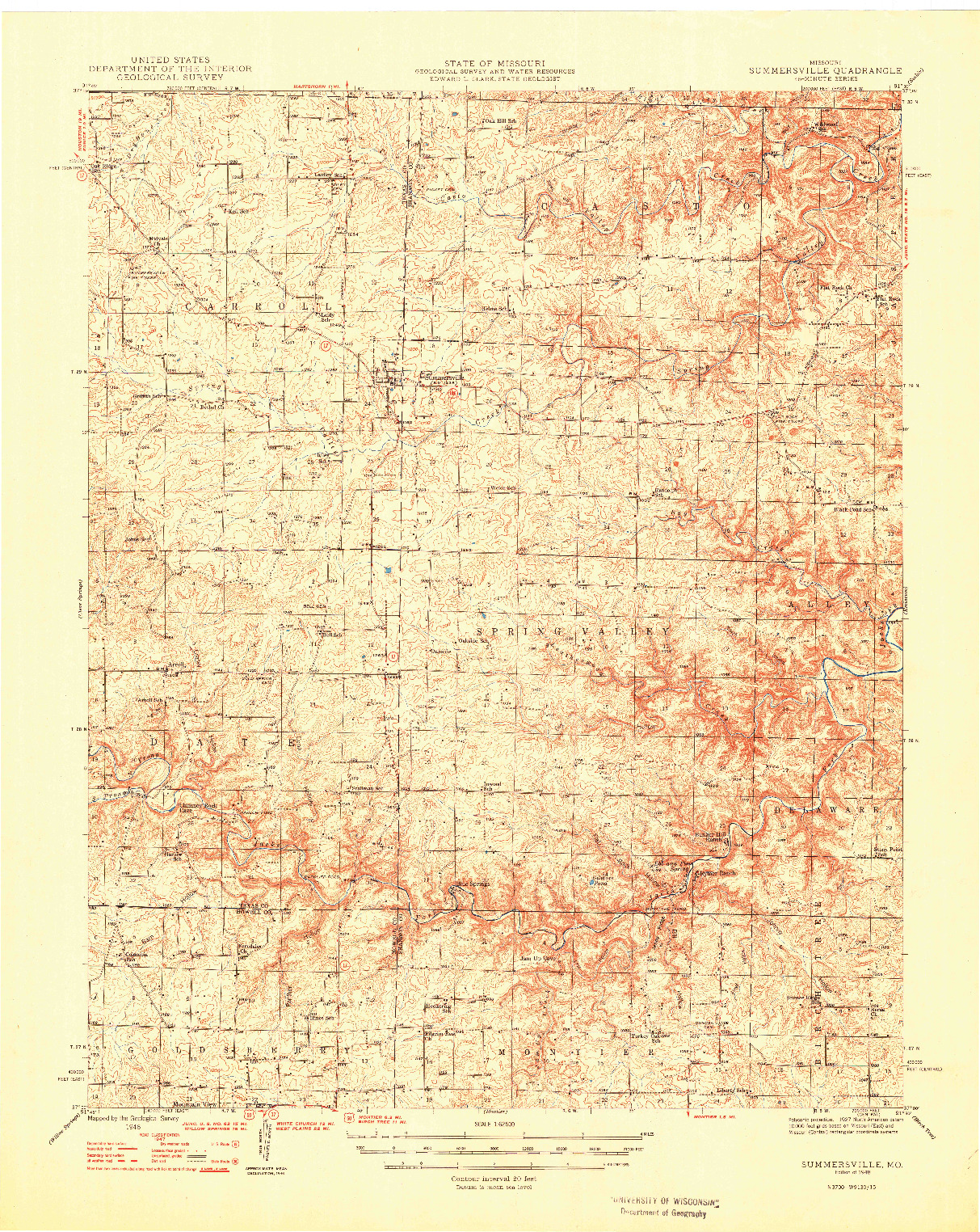 USGS 1:62500-SCALE QUADRANGLE FOR SUMMERSVILLE, MO 1948