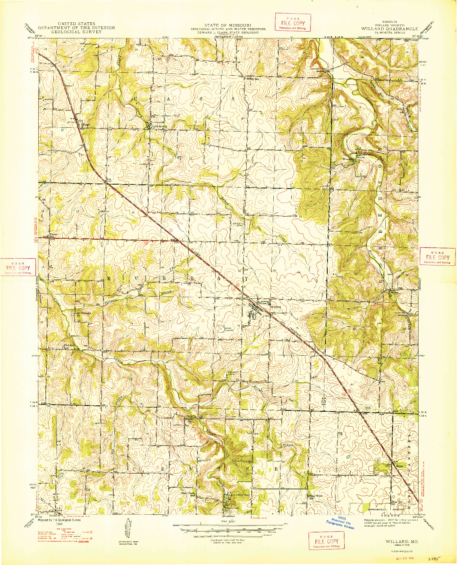 USGS 1:24000-SCALE QUADRANGLE FOR WILLARD, MO 1948
