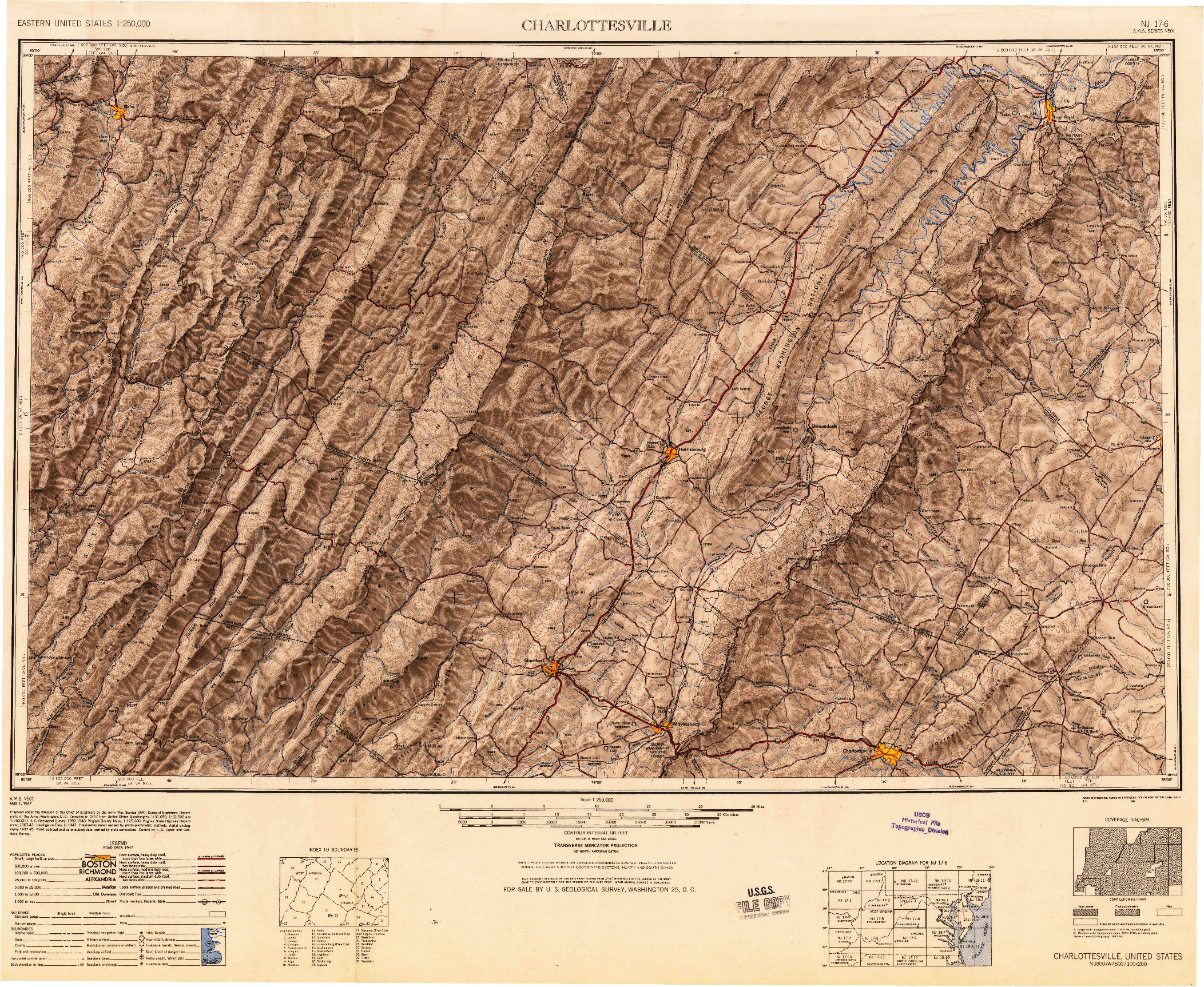 USGS 1:250000-SCALE QUADRANGLE FOR CHARLOTTESVILLE, VA 1949