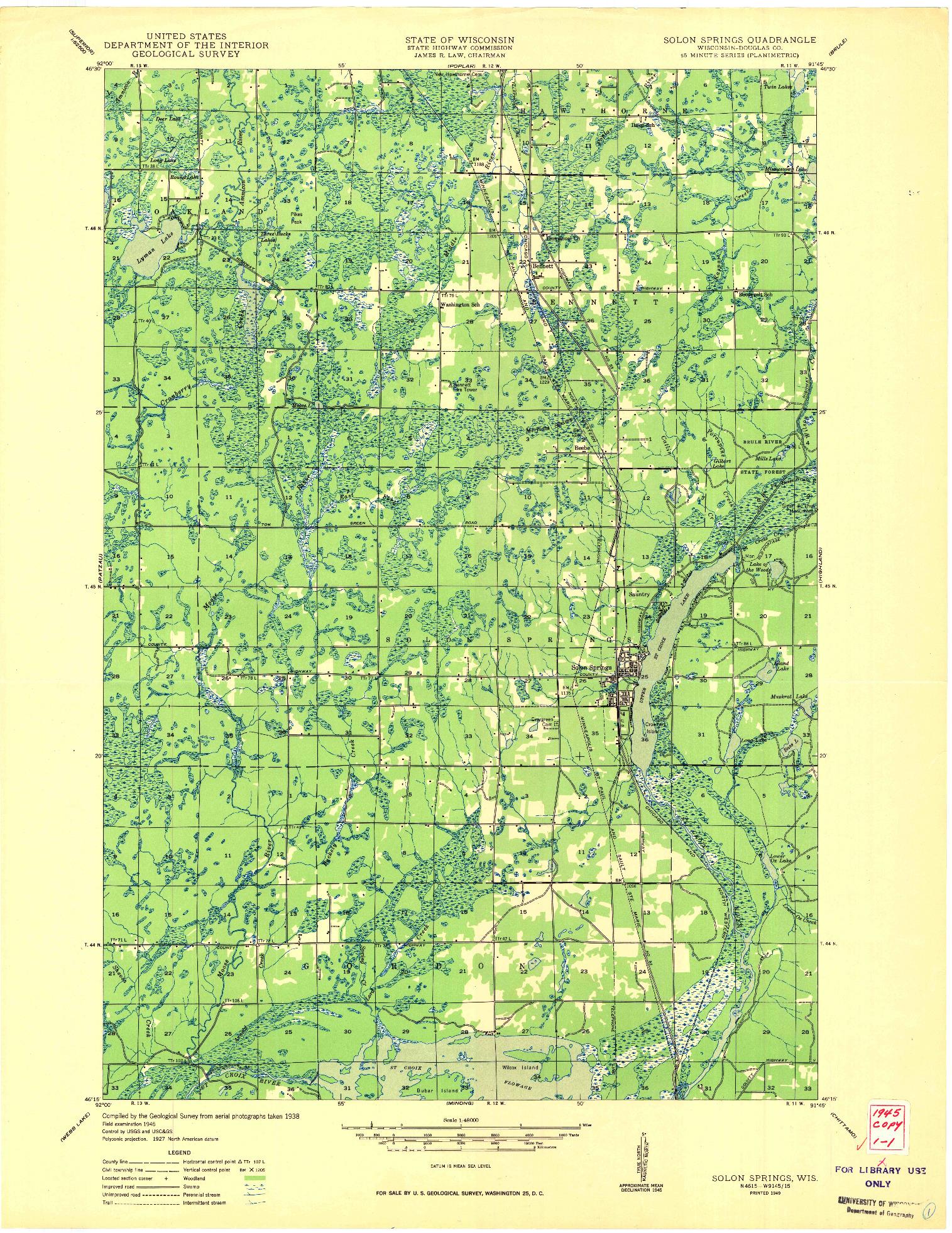 USGS 1:48000-SCALE QUADRANGLE FOR SOLON SPRINGS, WI 1949