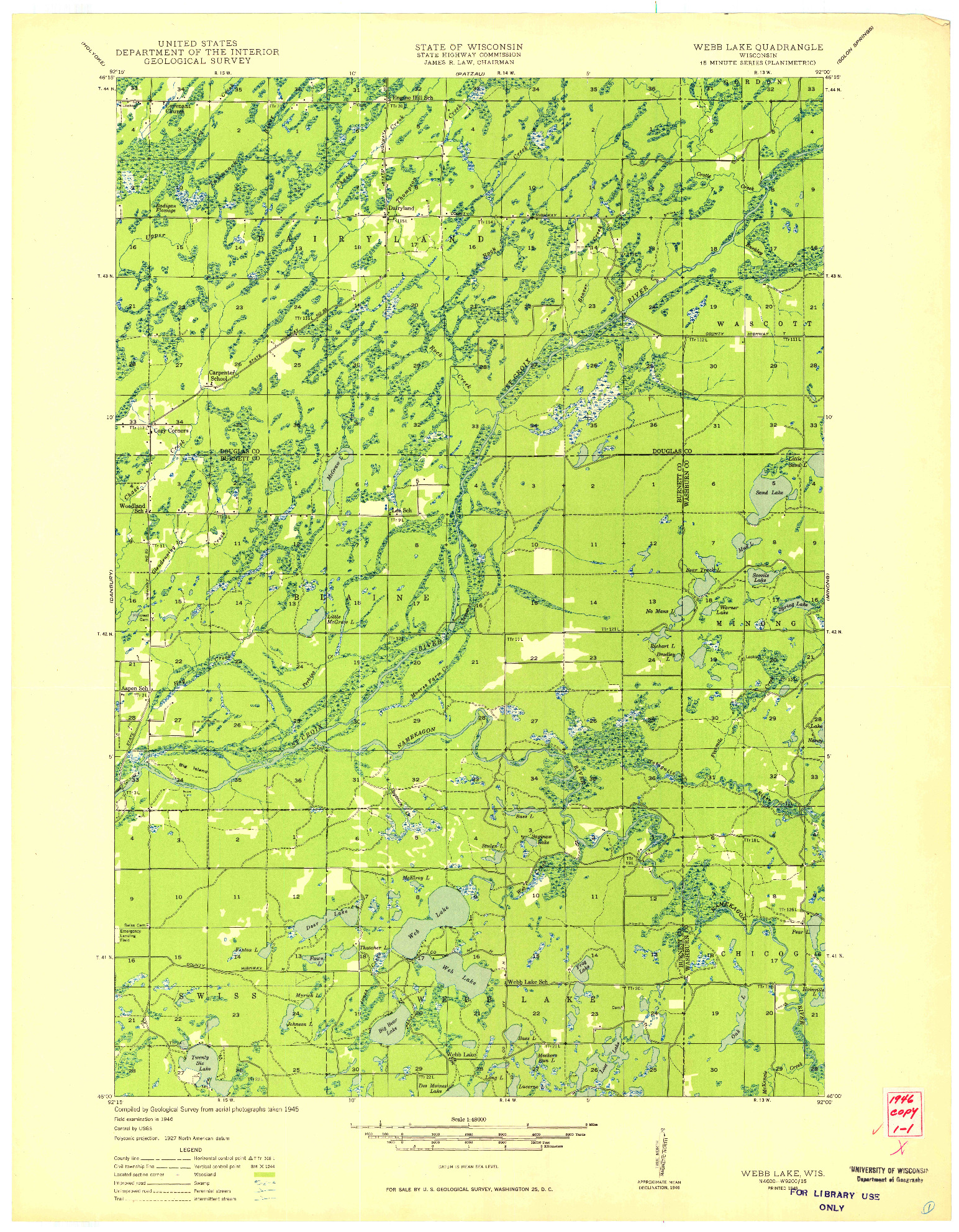 USGS 1:48000-SCALE QUADRANGLE FOR WEBB LAKE, WI 1949