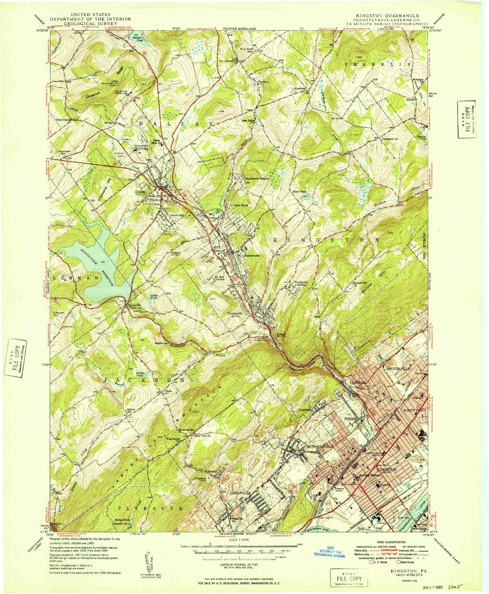 USGS 1:24000-SCALE QUADRANGLE FOR KINGSTON, PA 1949
