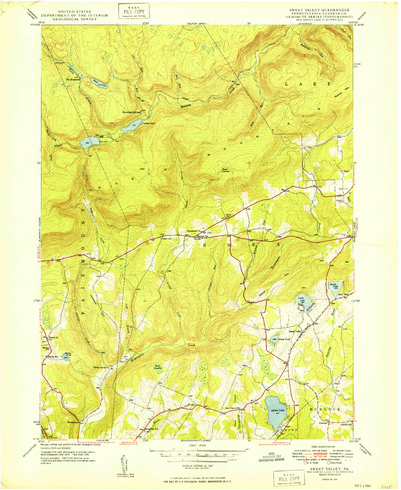 USGS 1:24000-SCALE QUADRANGLE FOR SWEET VALLEY, PA 1949