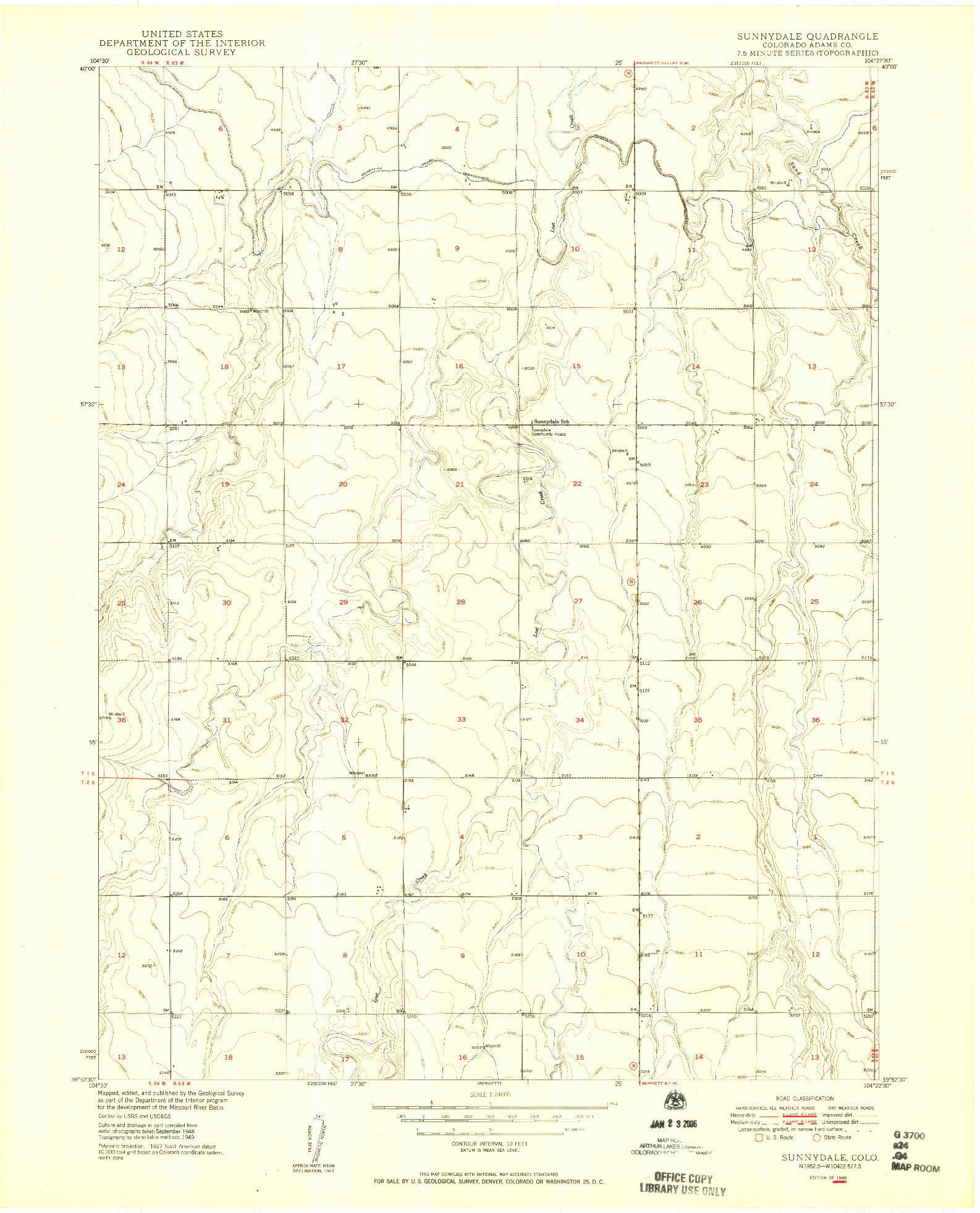 USGS 1:24000-SCALE QUADRANGLE FOR SUNNYDALE, CO 1949
