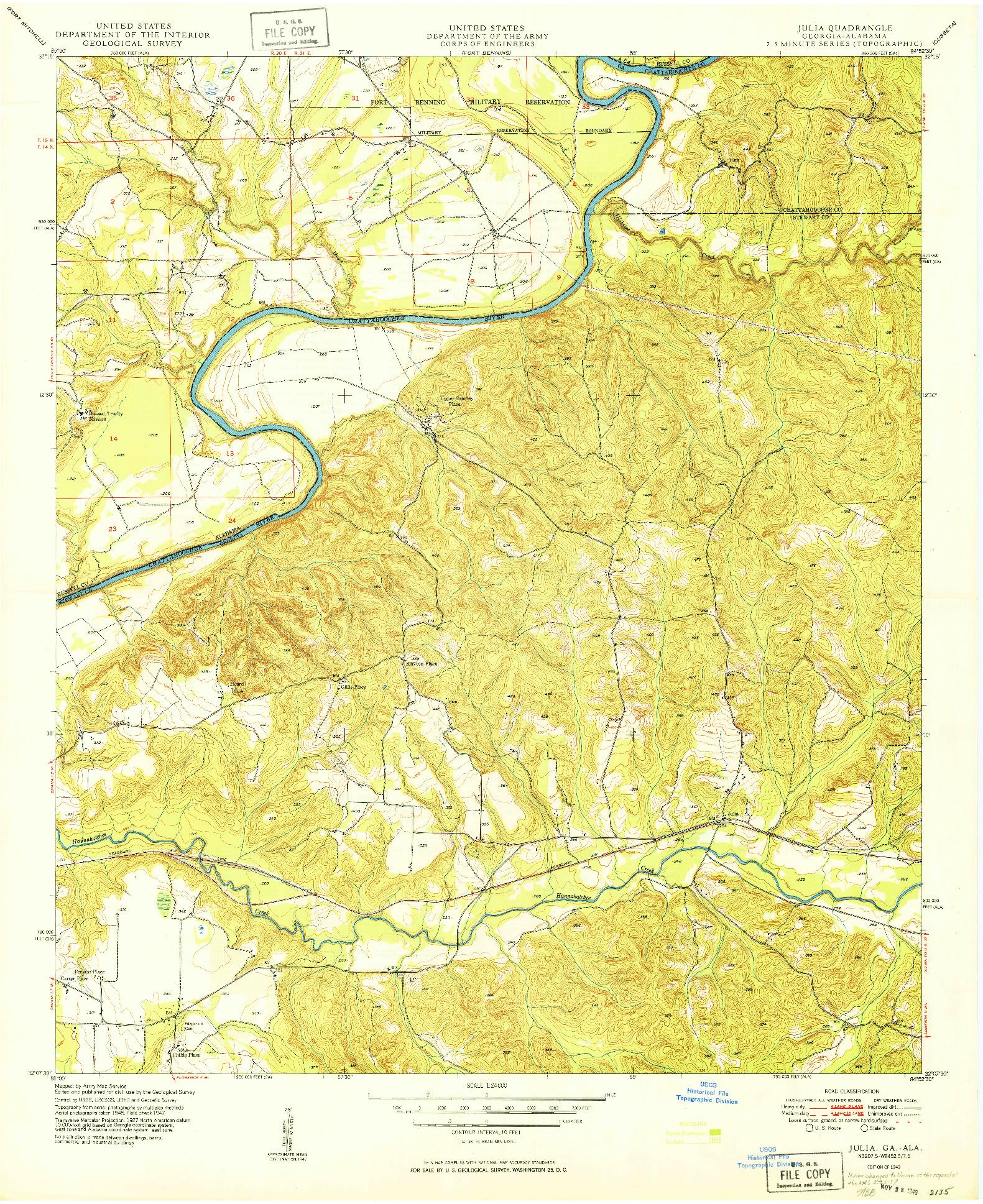 USGS 1:24000-SCALE QUADRANGLE FOR JULIA, GA 1949