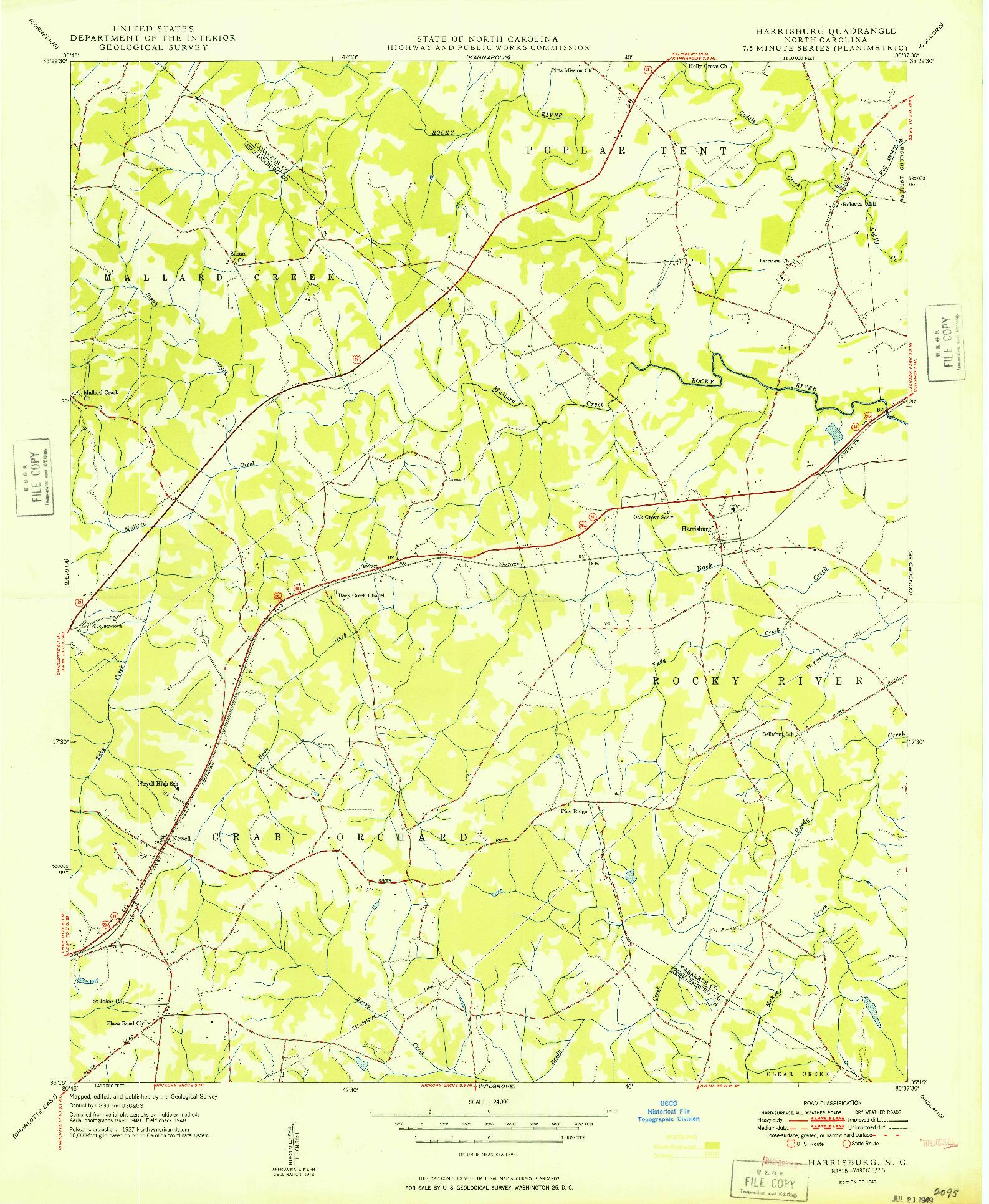 USGS 1:24000-SCALE QUADRANGLE FOR HARRISBURG, NC 1949