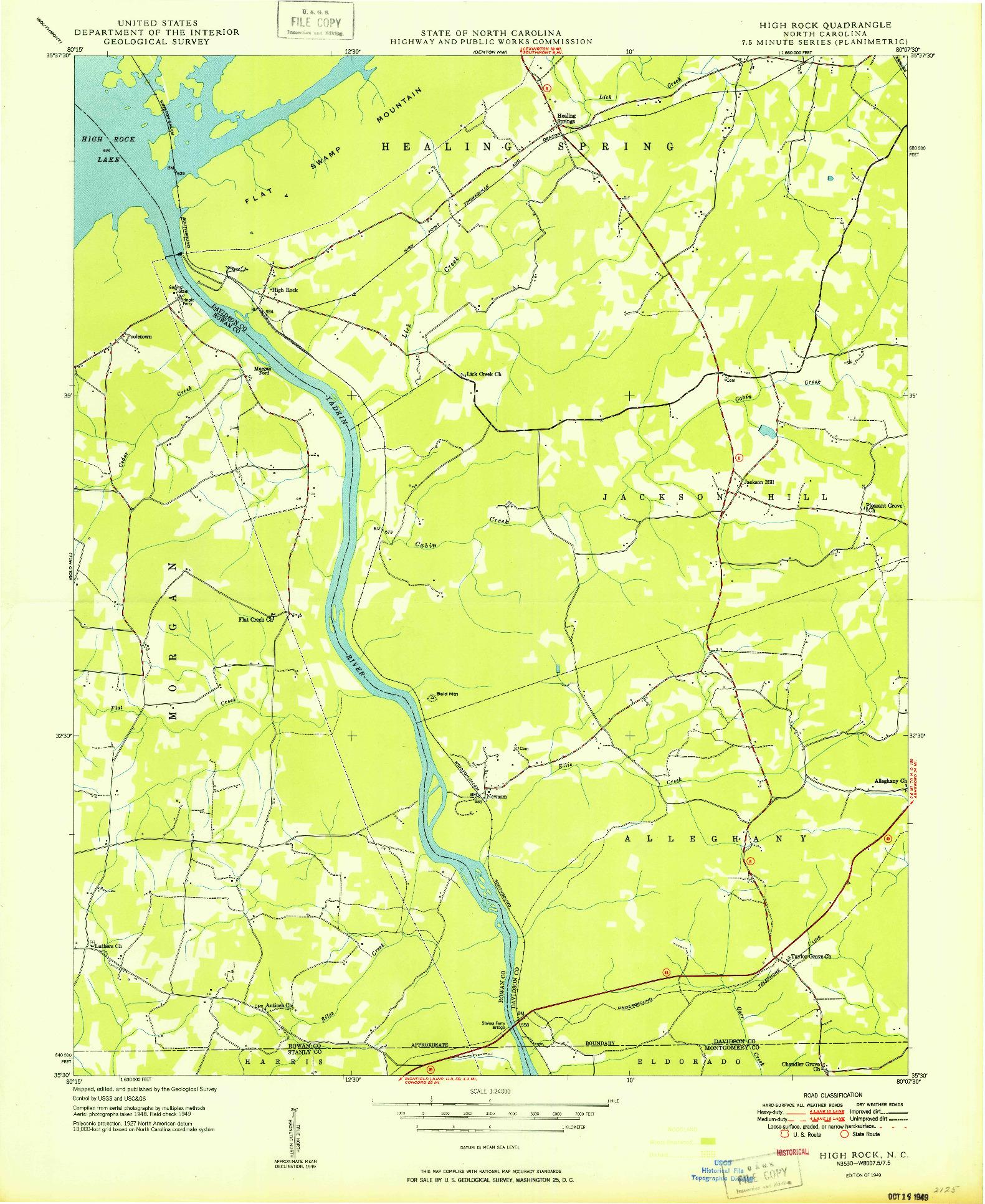 USGS 1:24000-SCALE QUADRANGLE FOR HIGH ROCK, NC 1949