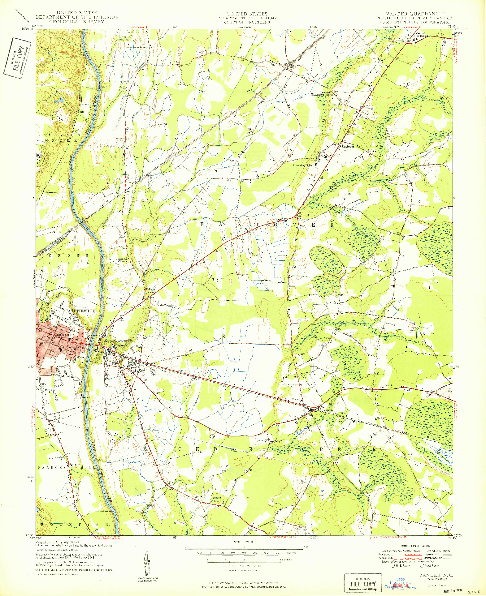 USGS 1:24000-SCALE QUADRANGLE FOR VANDER, NC 1949