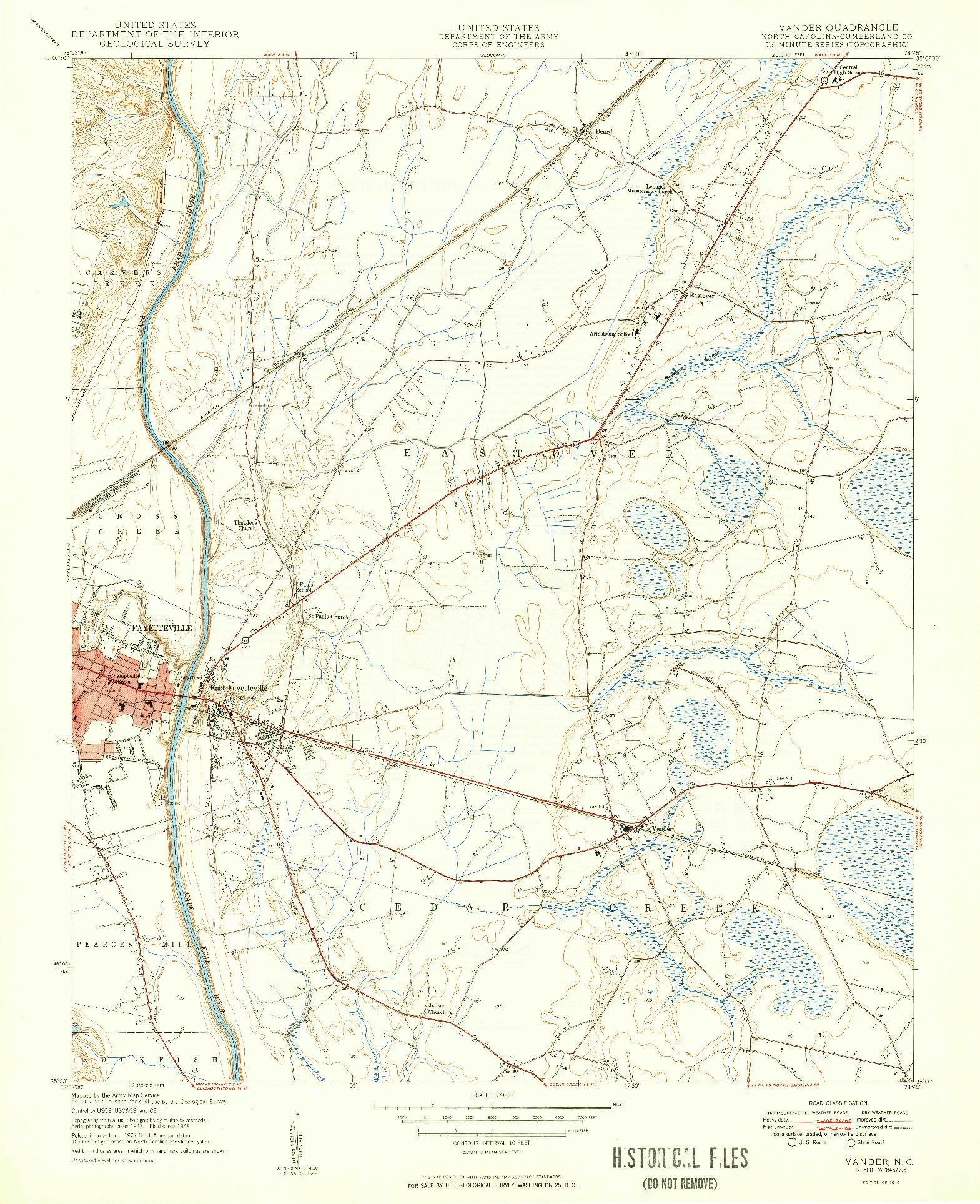 USGS 1:24000-SCALE QUADRANGLE FOR VANDER, NC 1949
