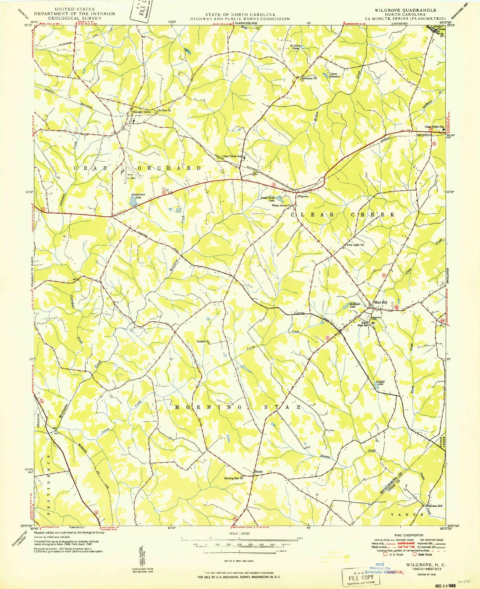 USGS 1:24000-SCALE QUADRANGLE FOR WILGROVE, NC 1949