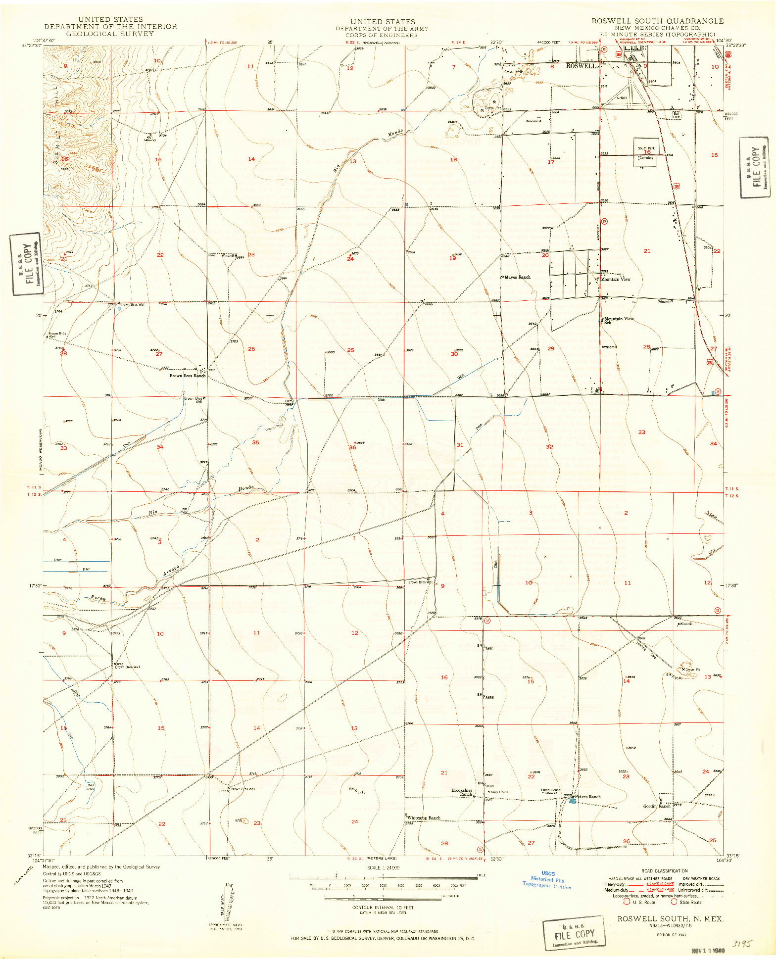 USGS 1:24000-SCALE QUADRANGLE FOR ROSWELL SOUTH, NM 1949