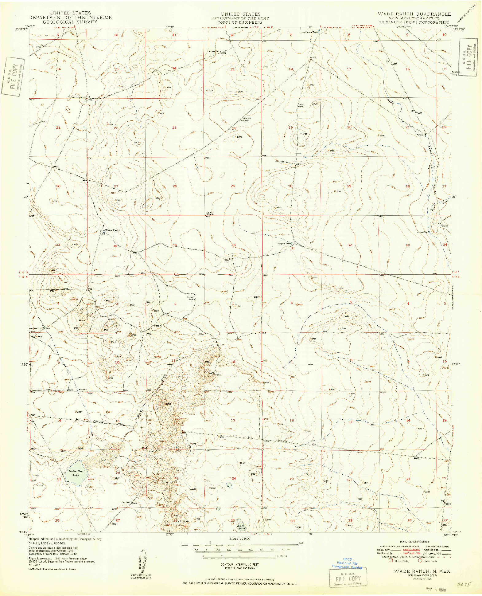 USGS 1:24000-SCALE QUADRANGLE FOR WADE RANCH, NM 1949