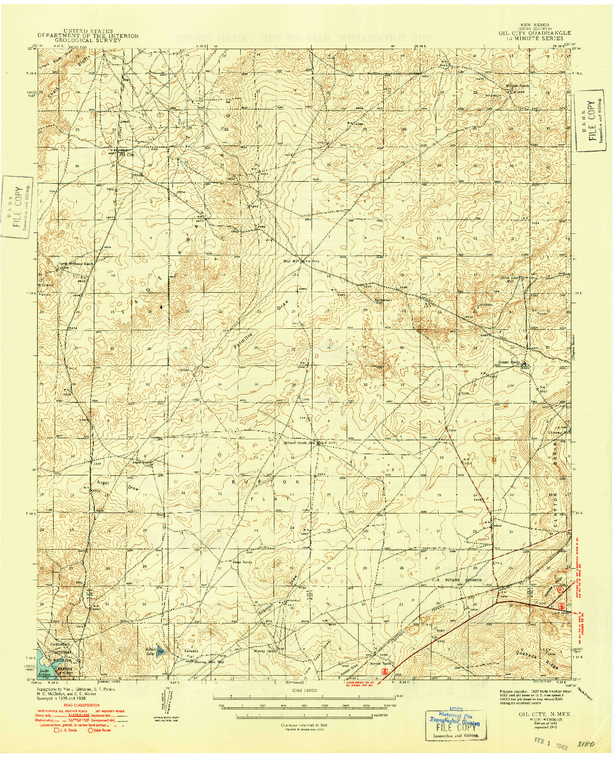USGS 1:62500-SCALE QUADRANGLE FOR OIL CITY, NM 1943