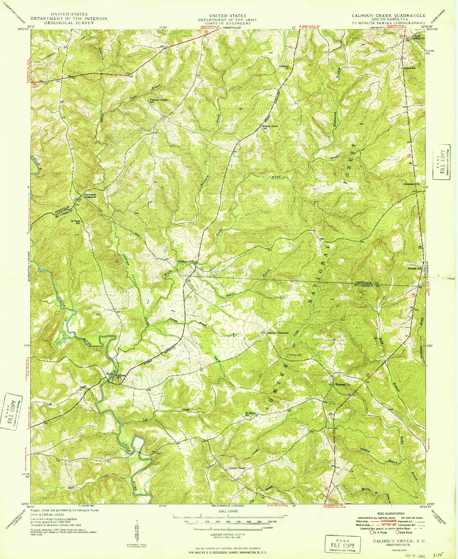 USGS 1:24000-SCALE QUADRANGLE FOR CALHOUN CREEK, SC 1949