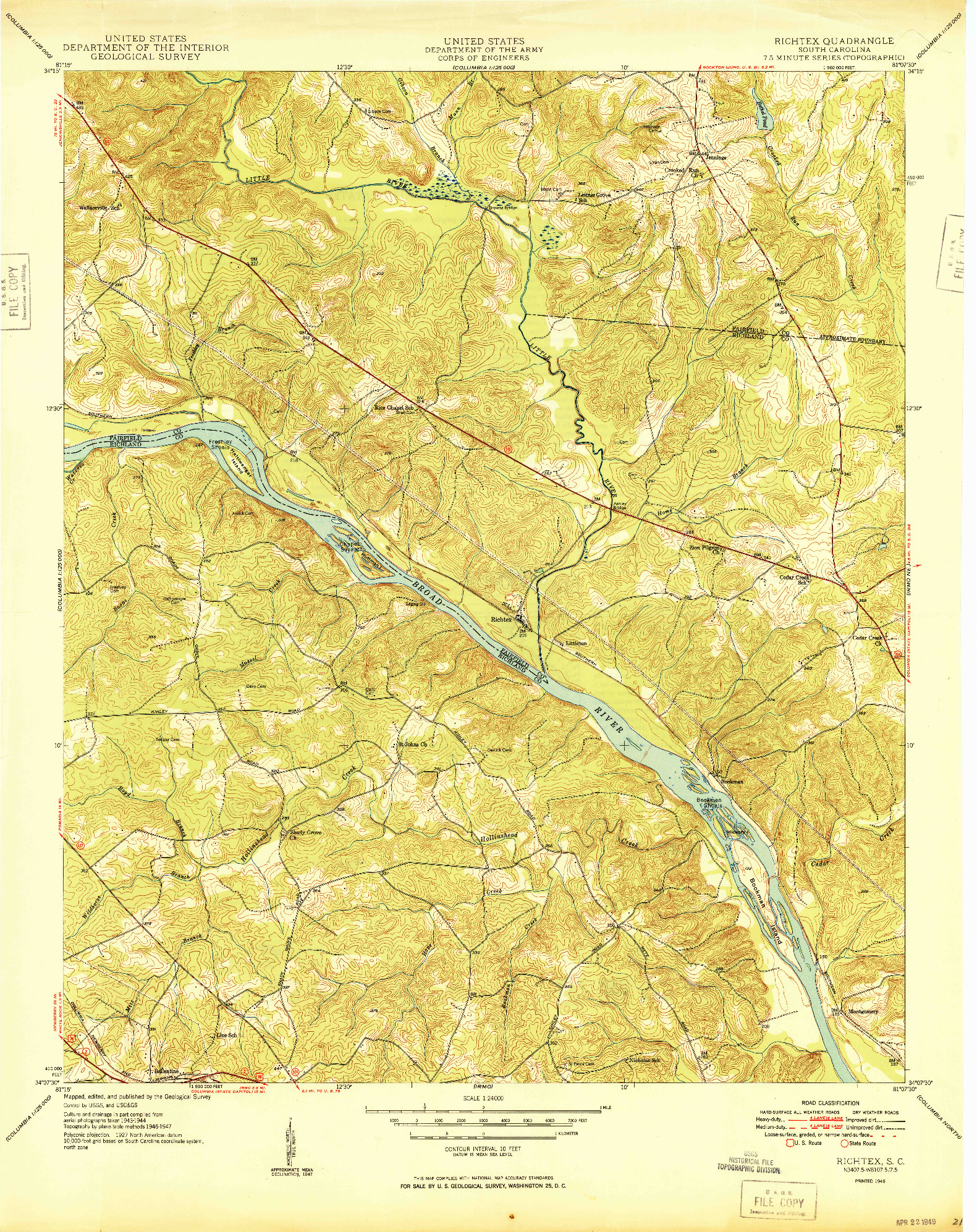 USGS 1:24000-SCALE QUADRANGLE FOR RICHTEX, SC 1949
