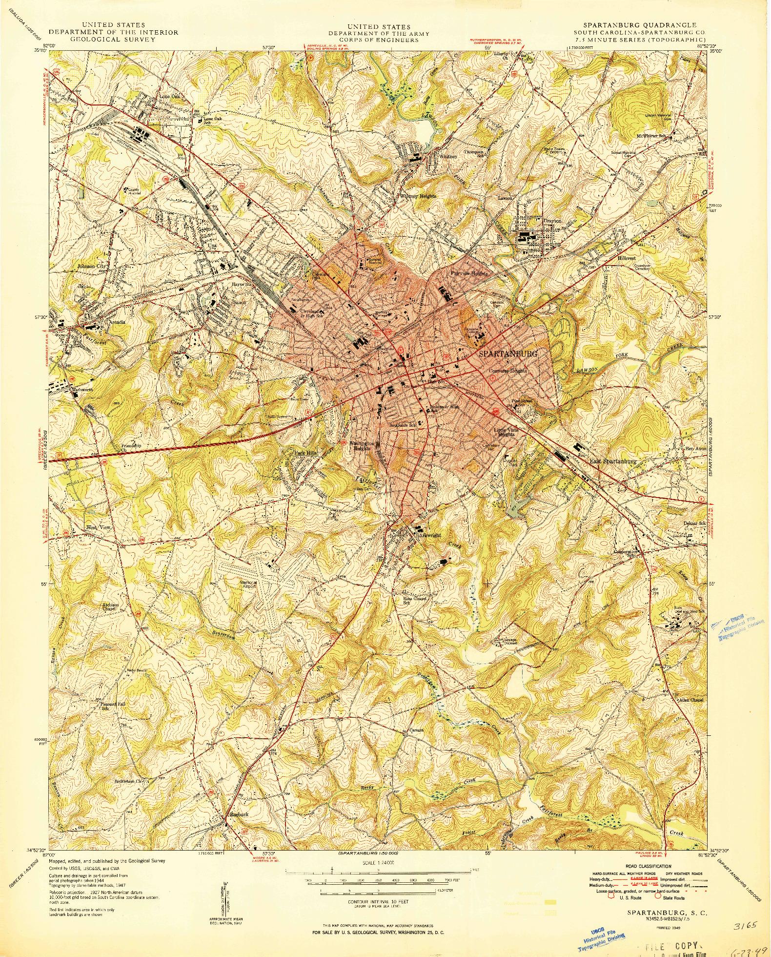 USGS 1:24000-SCALE QUADRANGLE FOR SPARTANBURG, SC 1949