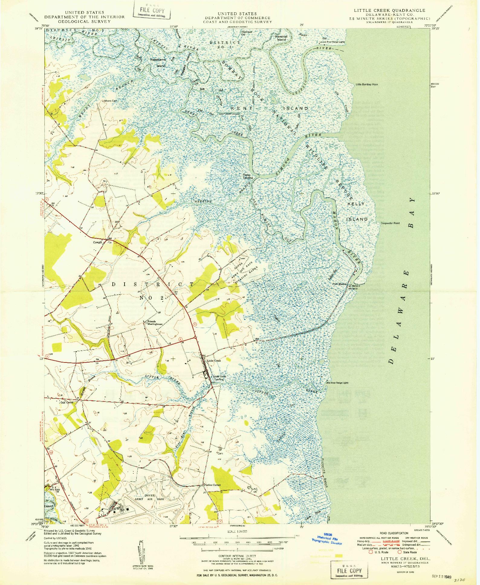 USGS 1:24000-SCALE QUADRANGLE FOR LITTLE CREEK, DE 1949