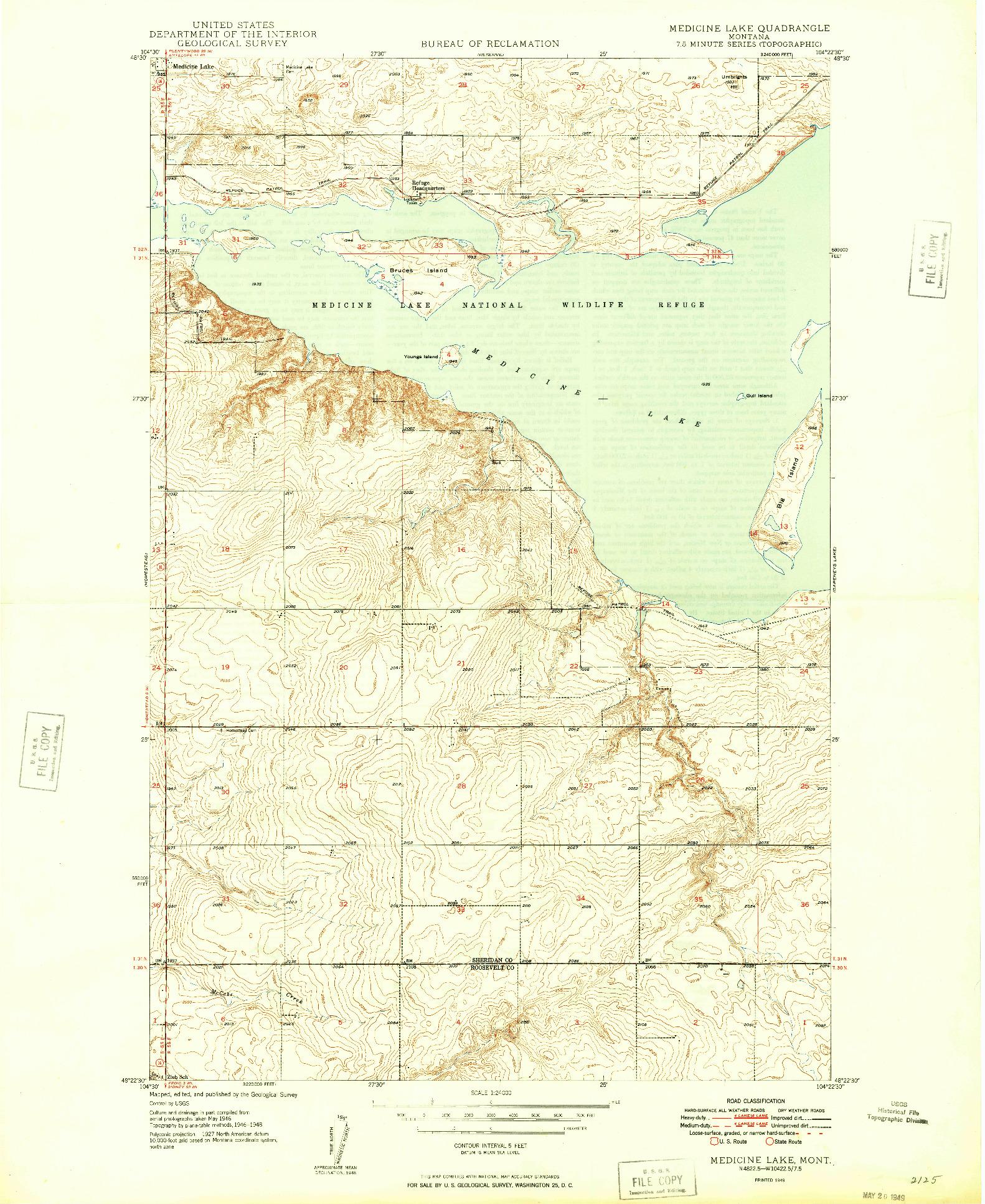USGS 1:24000-SCALE QUADRANGLE FOR MEDICINE LAKE, MT 1949