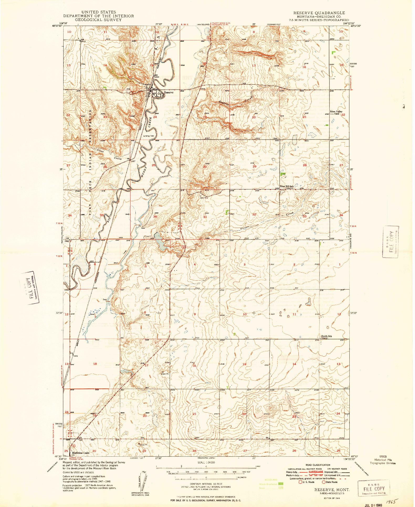 USGS 1:24000-SCALE QUADRANGLE FOR RESERVE, MT 1949
