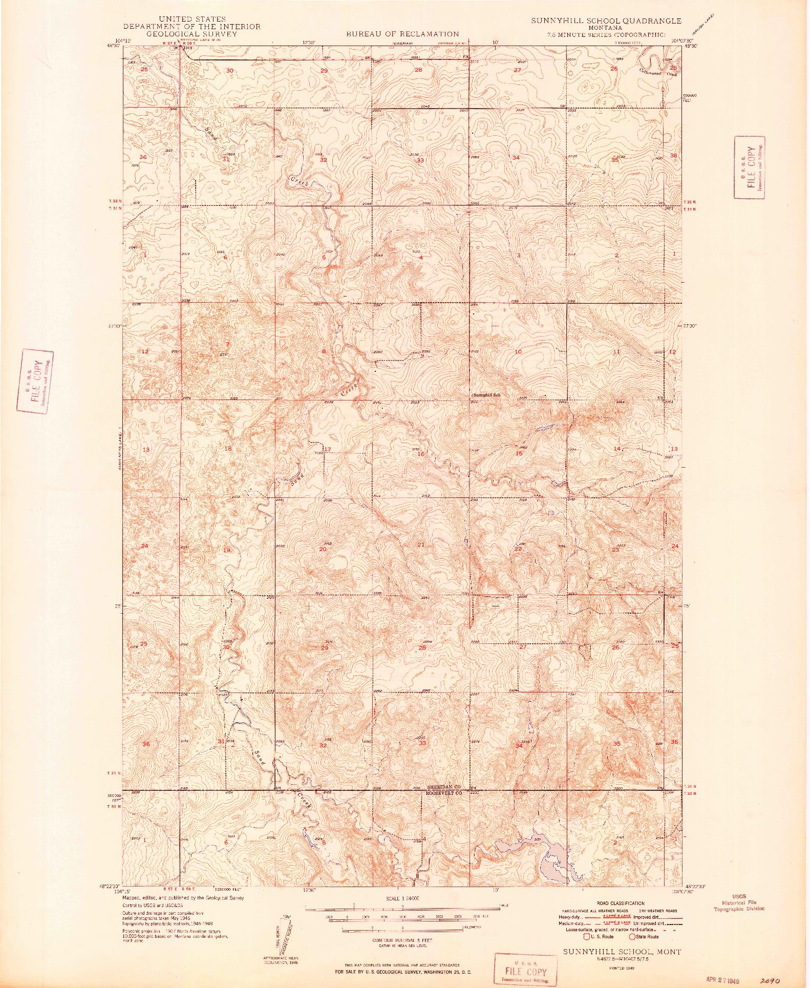 USGS 1:24000-SCALE QUADRANGLE FOR SUNNYHILL SCHOOL, MT 1949