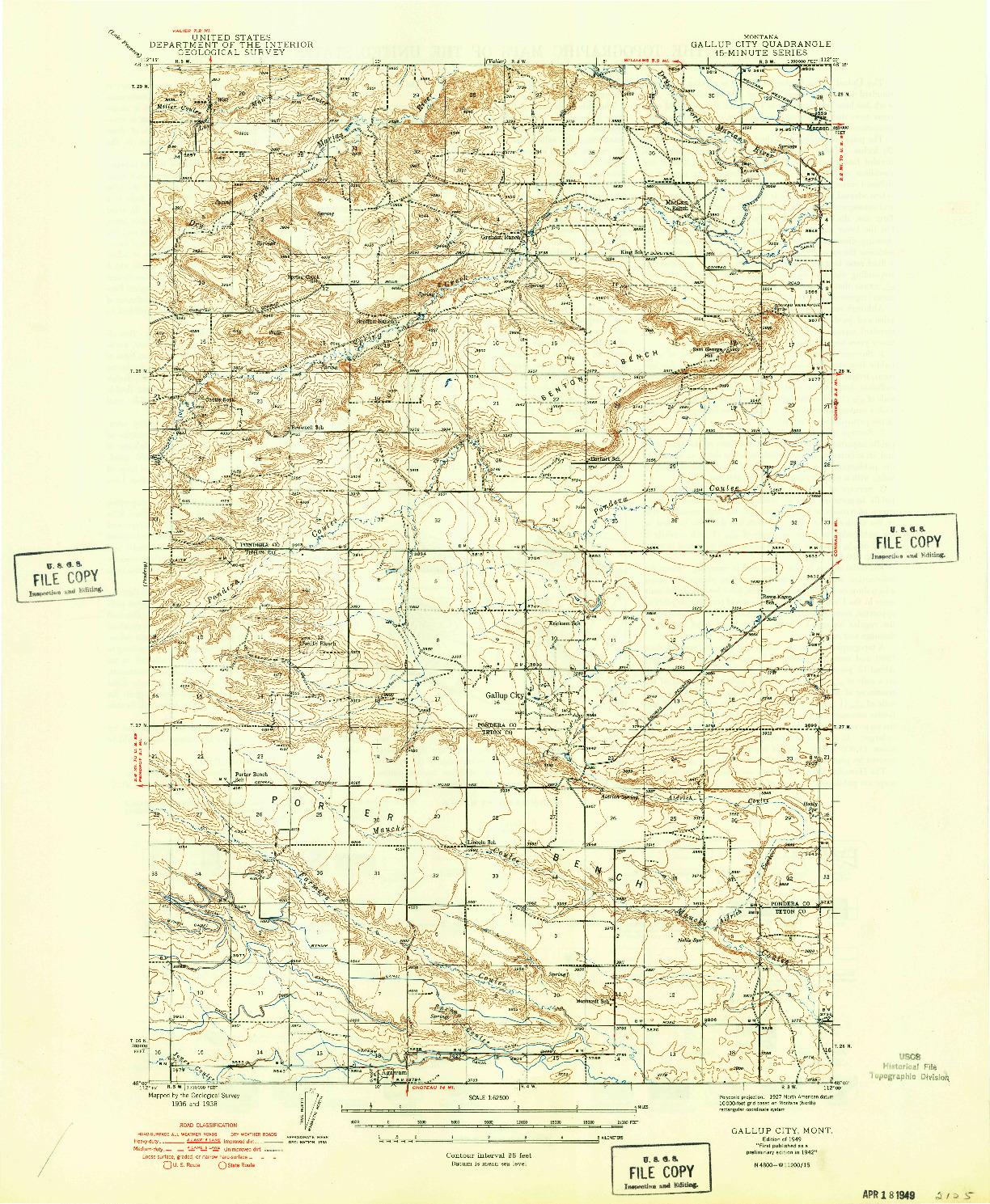 USGS 1:62500-SCALE QUADRANGLE FOR GALLUP CITY, MT 1942