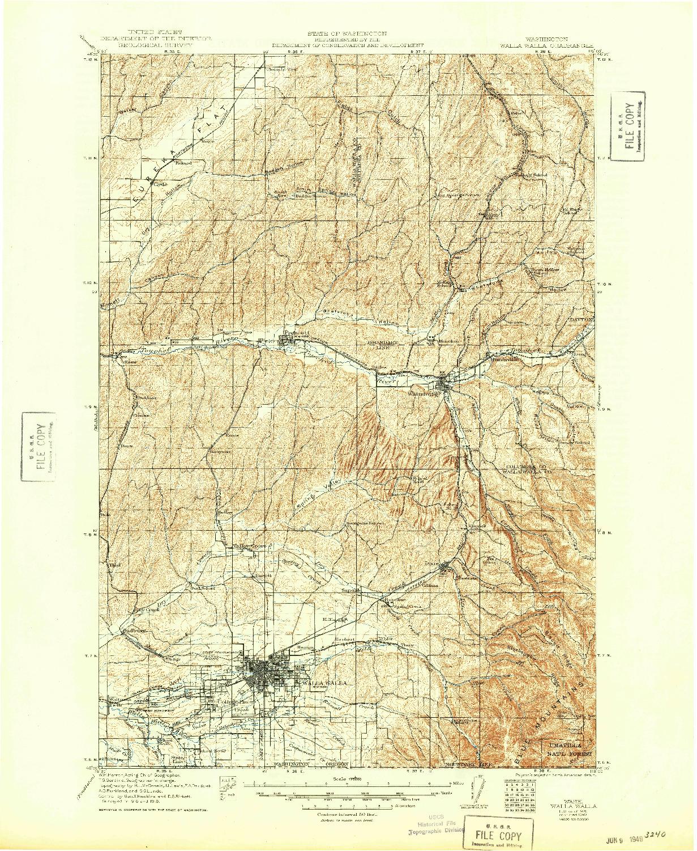 USGS 1:125000-SCALE QUADRANGLE FOR WALLA WALLA, WA 1921