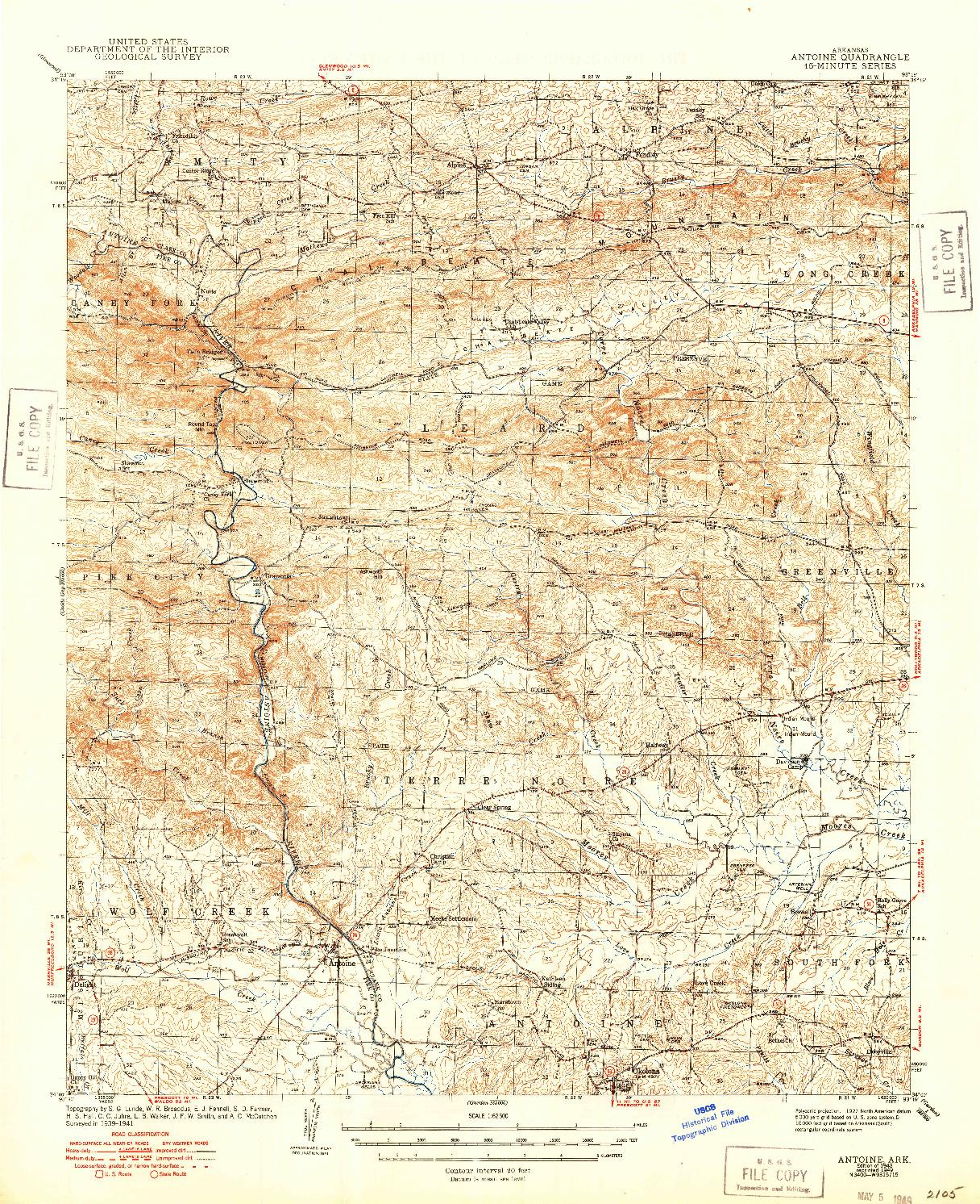 USGS 1:62500-SCALE QUADRANGLE FOR ANTOINE, AR 1943