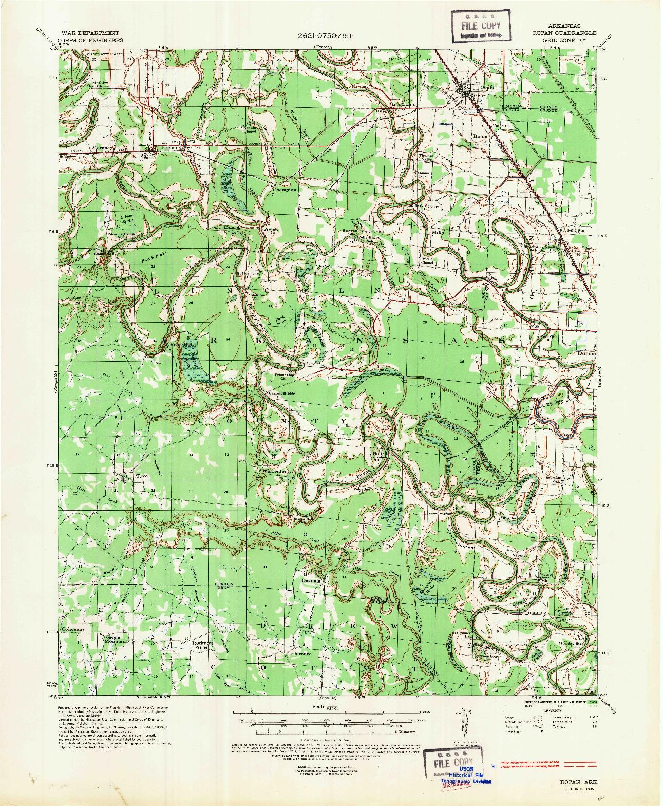 USGS 1:62500-SCALE QUADRANGLE FOR ROTAN, AR 1935