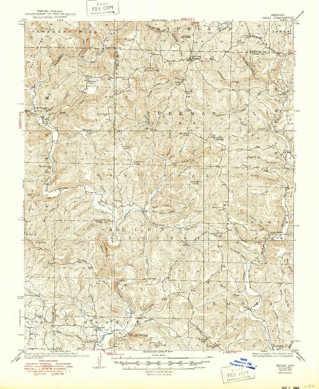USGS 1:62500-SCALE QUADRANGLE FOR TREAT, AR 1934