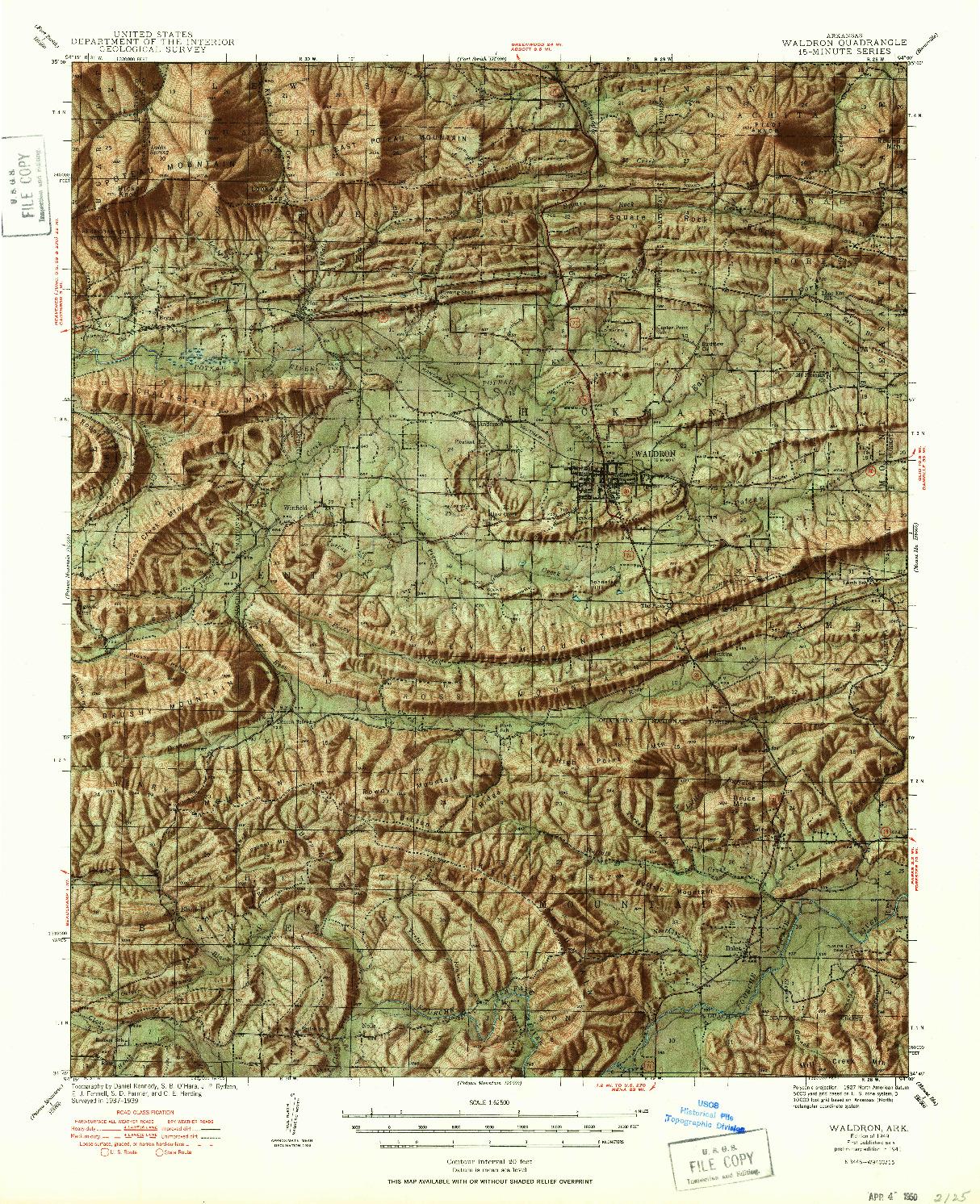 USGS 1:62500-SCALE QUADRANGLE FOR WALDRON, AR 1949