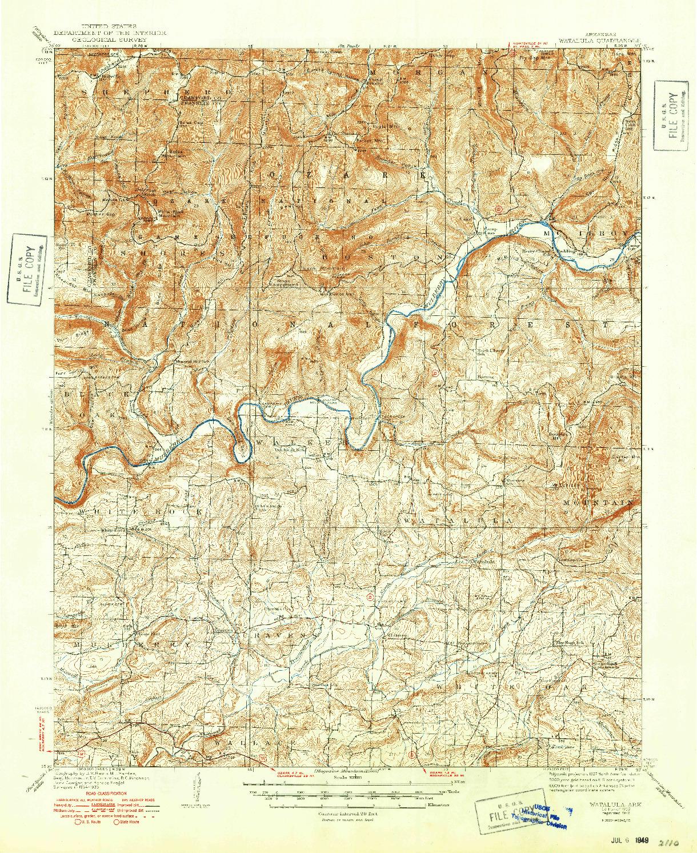 USGS 1:62500-SCALE QUADRANGLE FOR WATALULA, AR 1939