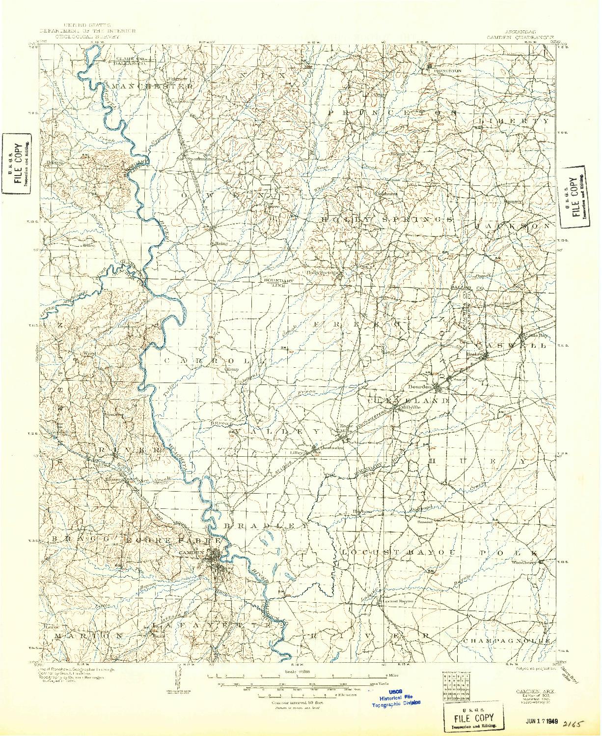 USGS 1:125000-SCALE QUADRANGLE FOR CAMDEN, AR 1903