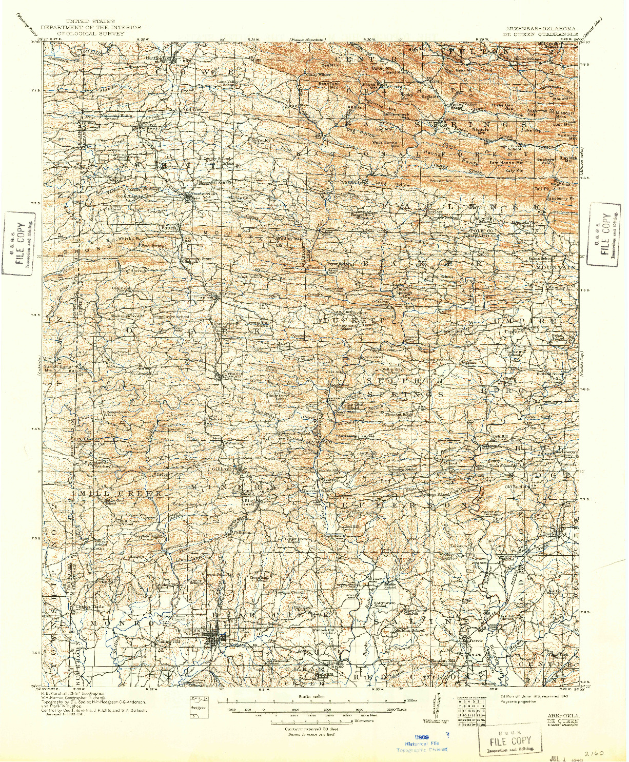 USGS 1:125000-SCALE QUADRANGLE FOR DE QUEEN, AR 1913