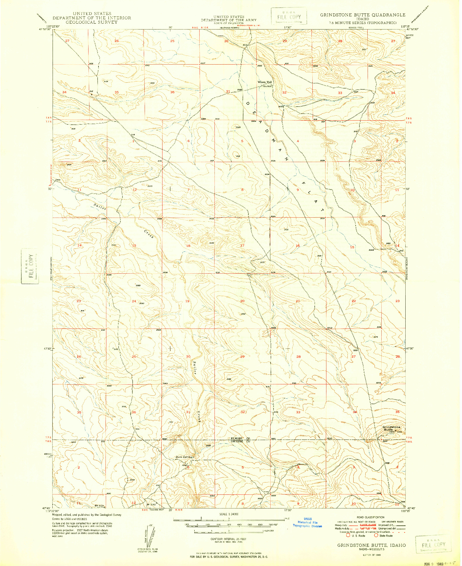 USGS 1:24000-SCALE QUADRANGLE FOR GRINDSTONE BUTTE, ID 1949