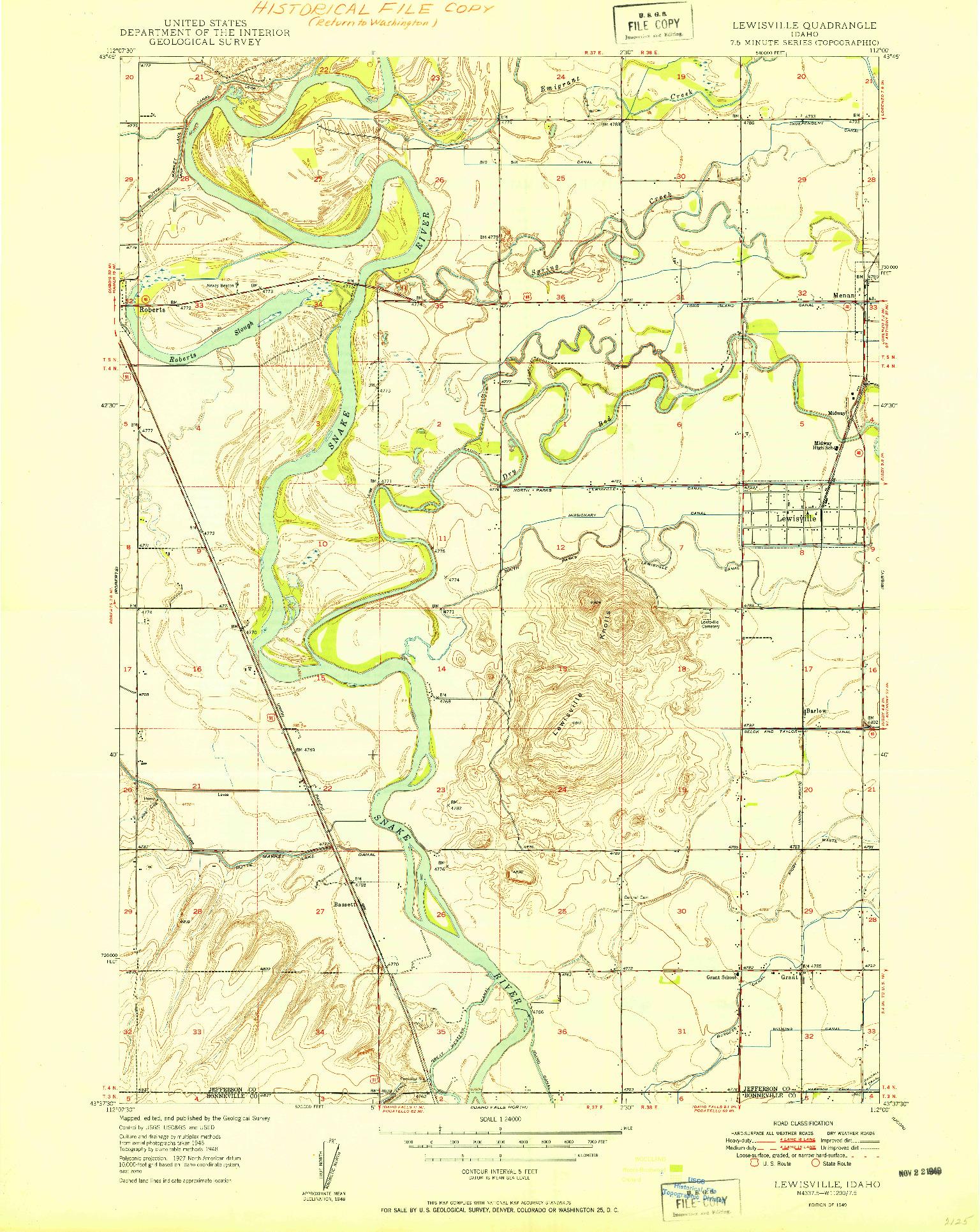 USGS 1:24000-SCALE QUADRANGLE FOR LEWISVILLE, ID 1949