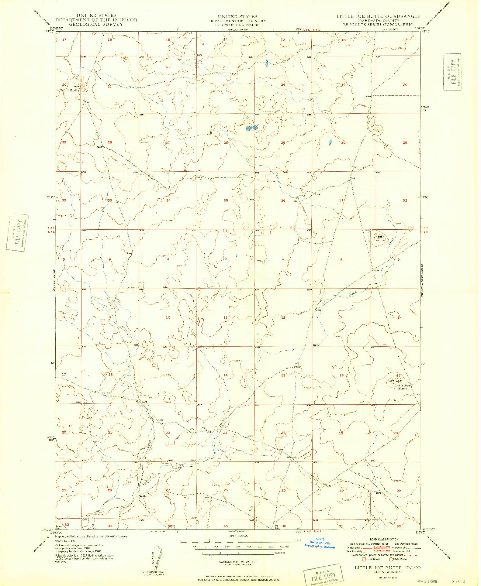 USGS 1:24000-SCALE QUADRANGLE FOR LITTLE JOE BUTTE, ID 1949