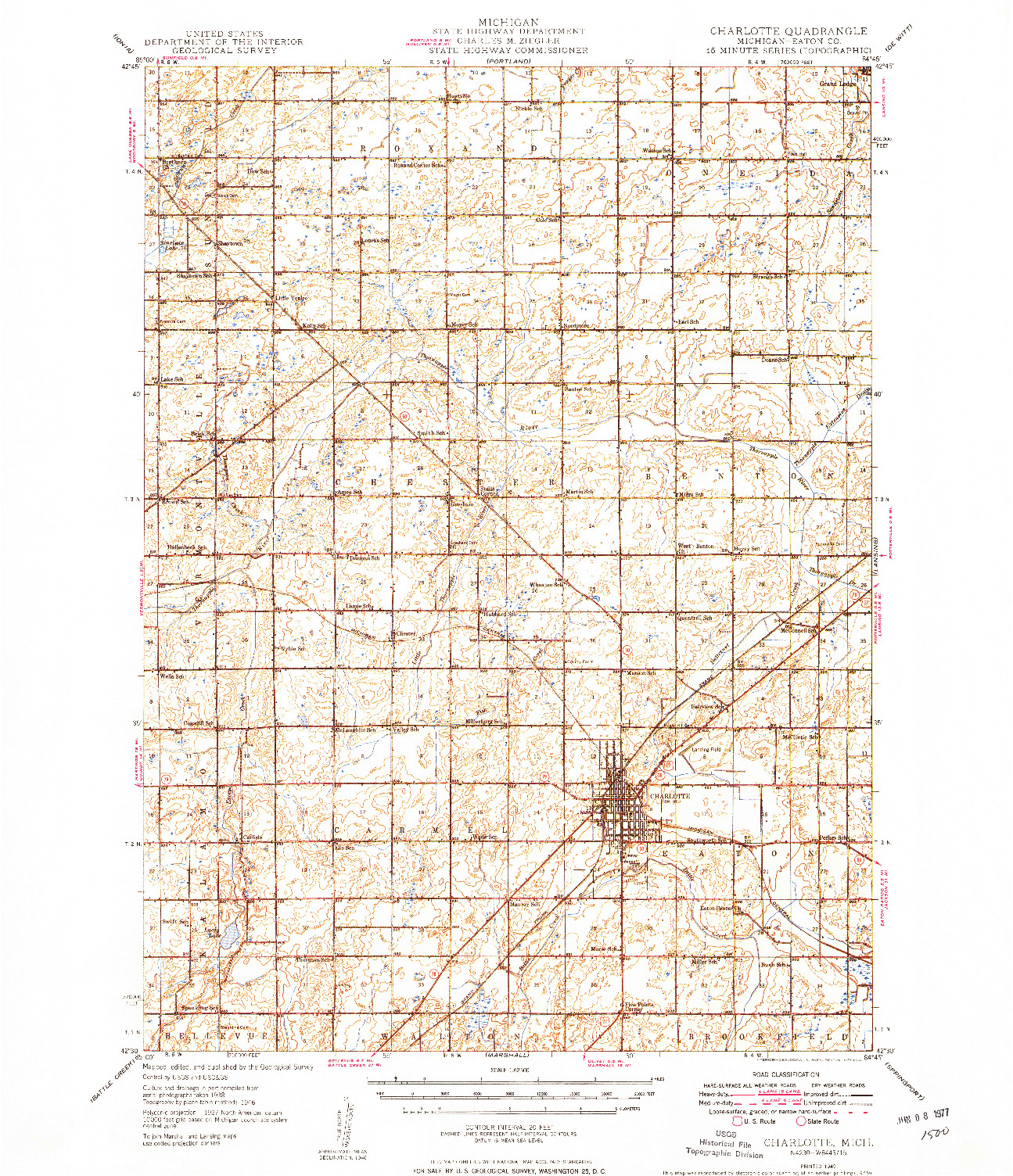 USGS 1:62500-SCALE QUADRANGLE FOR CHARLOTTE, MI 1949
