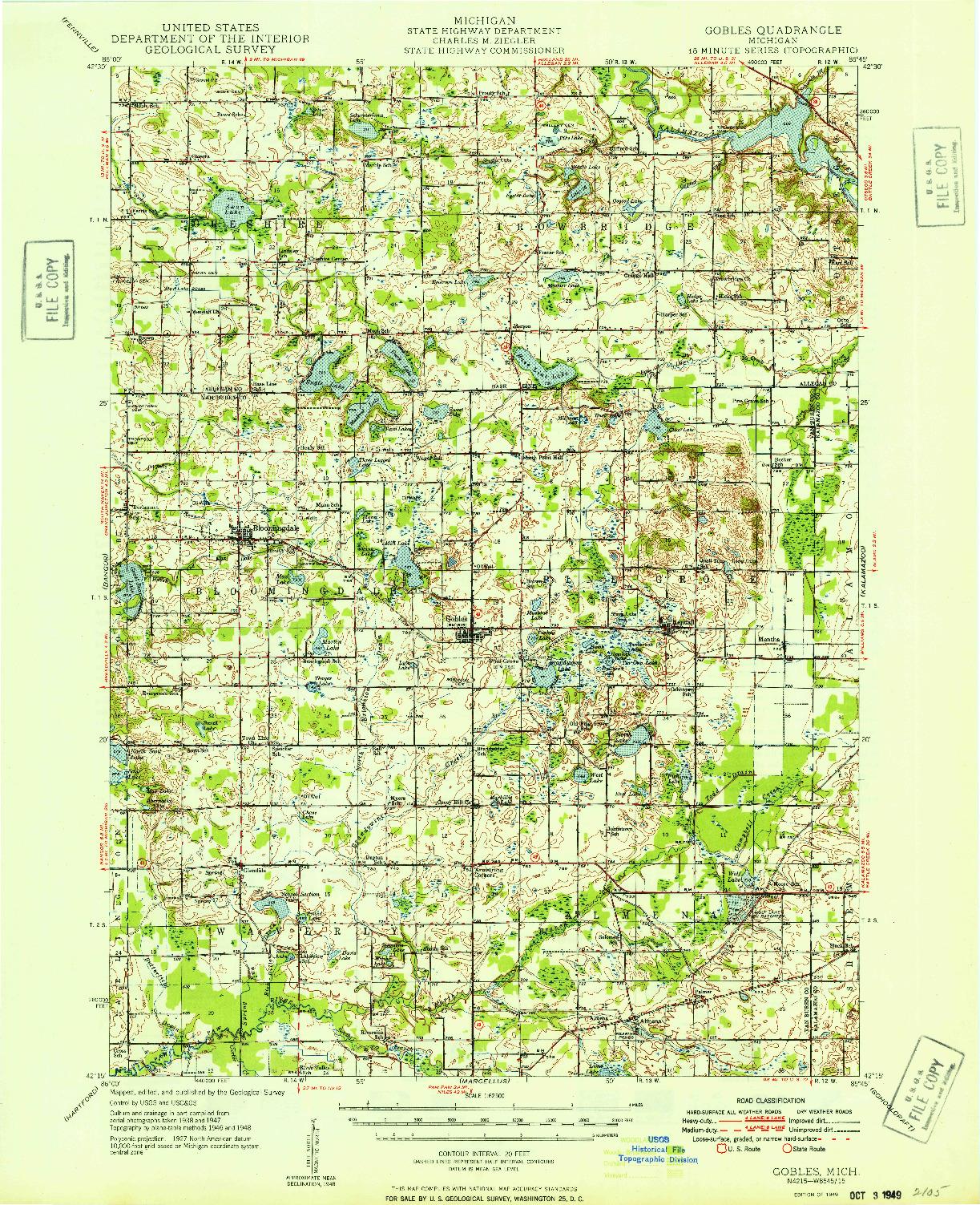 USGS 1:62500-SCALE QUADRANGLE FOR GOBLES, MI 1949