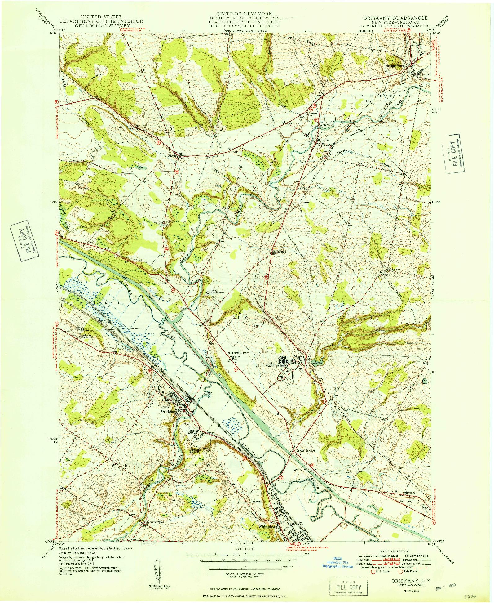 USGS 1:24000-SCALE QUADRANGLE FOR ORISKANY, NY 1949